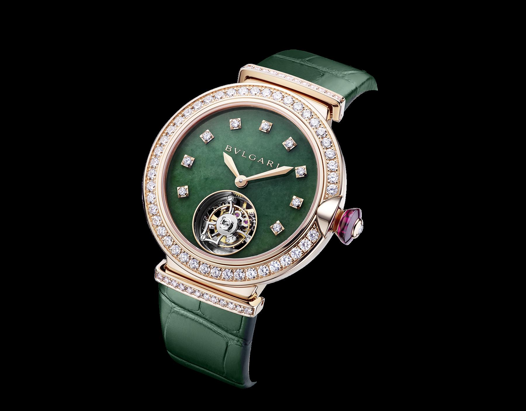 LVCEA Tourbillon 腕錶搭載機械機芯,自動上鍊,鏤空陀飛輪。18K 玫瑰金錶殼鑲飾鑽石,翡翠錶盤,綠色鱷魚皮錶帶。 102693 image 2