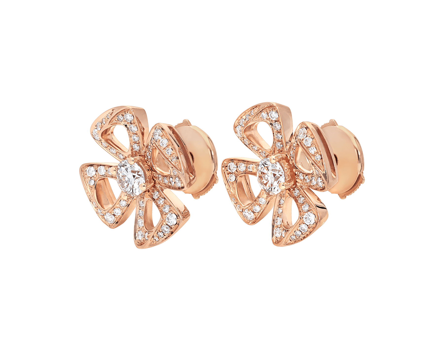 Fiorever 18 kt rose gold earrings set with two central diamonds (0.20 ct each) and pavé diamonds (0.33 ct) 355887 image 2