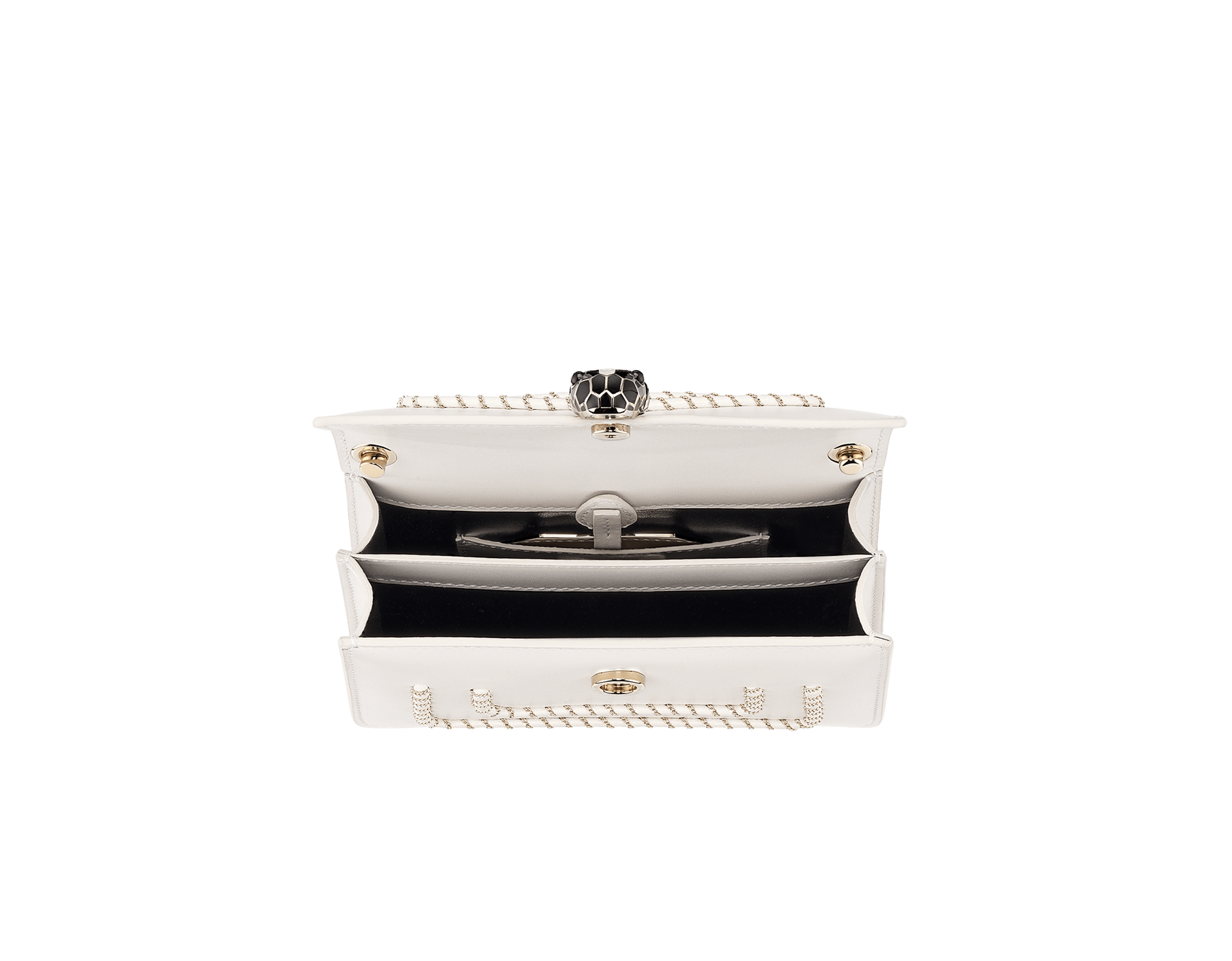 Serpenti Forever mini crossbody bag in white agate calf leather with woven chain décor. Brass light gold-plated snake head closure in black and white enamel, with black onyx eyes. 288045 image 4