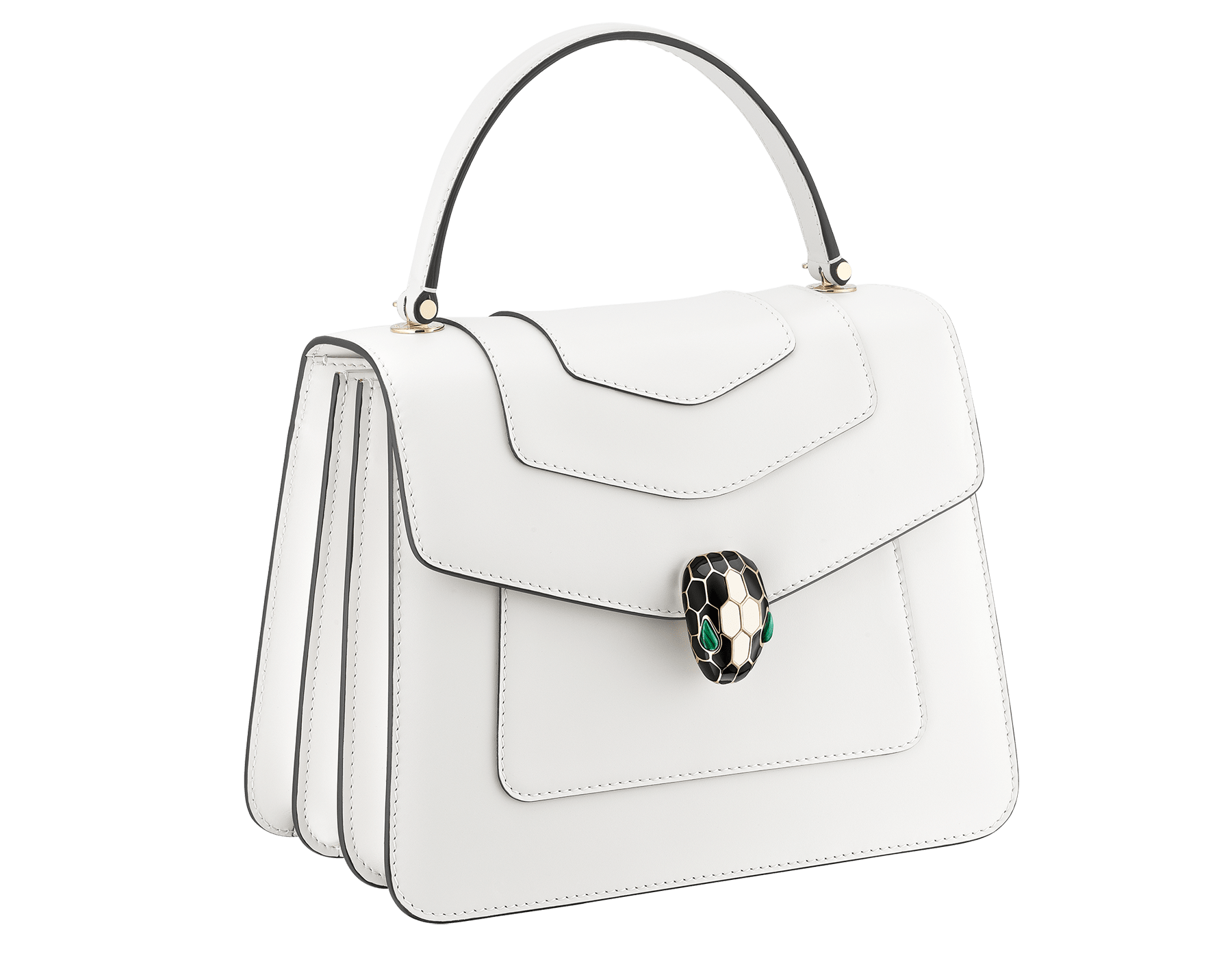 """Serpenti Forever"" top handle bag in daisy topaz calf leather. Iconic snake head closure in light gold plated brass enriched with black and white enamel and green malachite eyes. 1050-CL image 4"