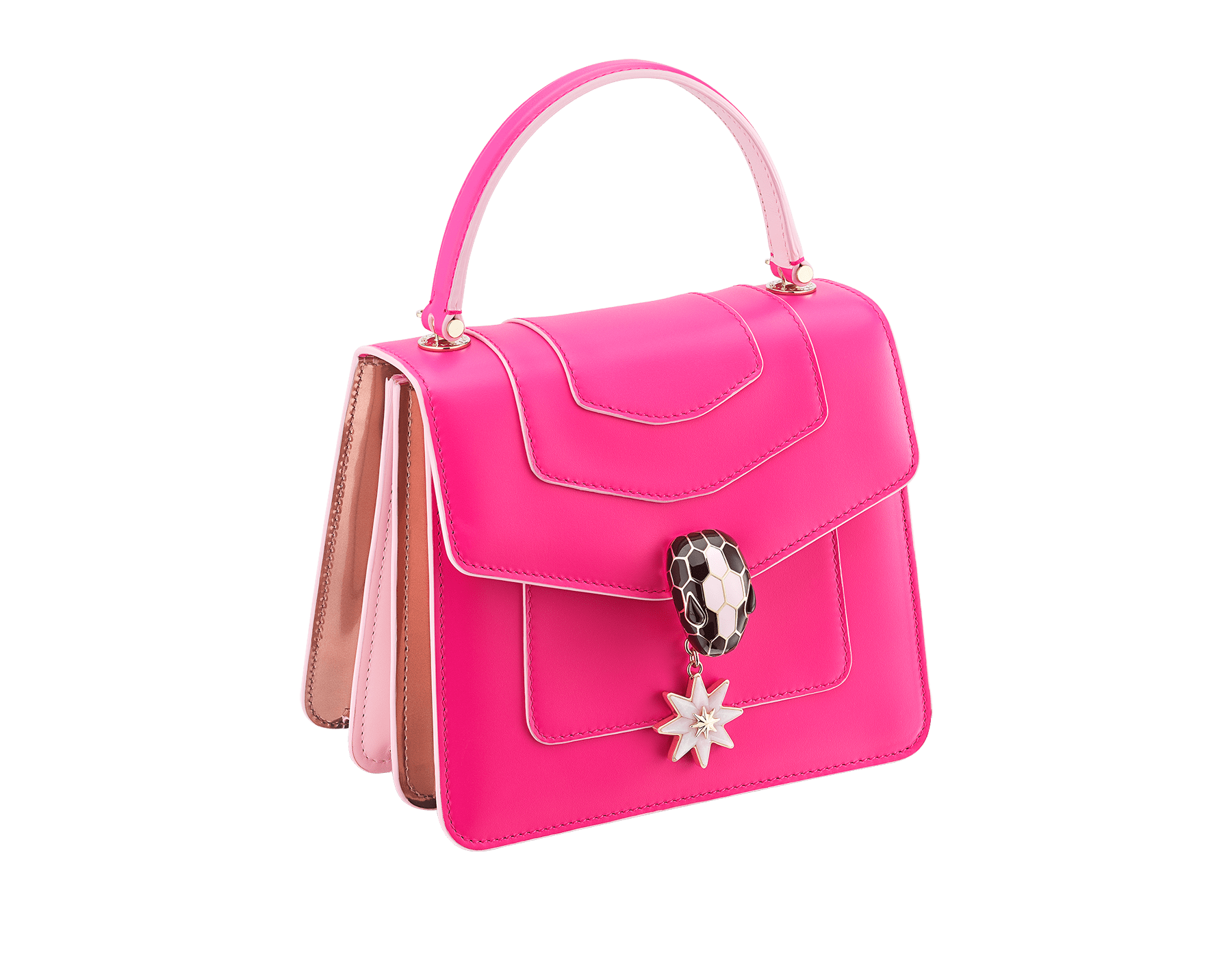 Serpenti Forever Holiday Season crossbody bag in flash amethyst, rose quartz brushed metallic and rosa di francia calf leather. Snakehead closure in light gold plated brass embellished with black and sakura pink enamel, black onyx eyes and a pink opal eight-pointed star charm. 289373 image 2