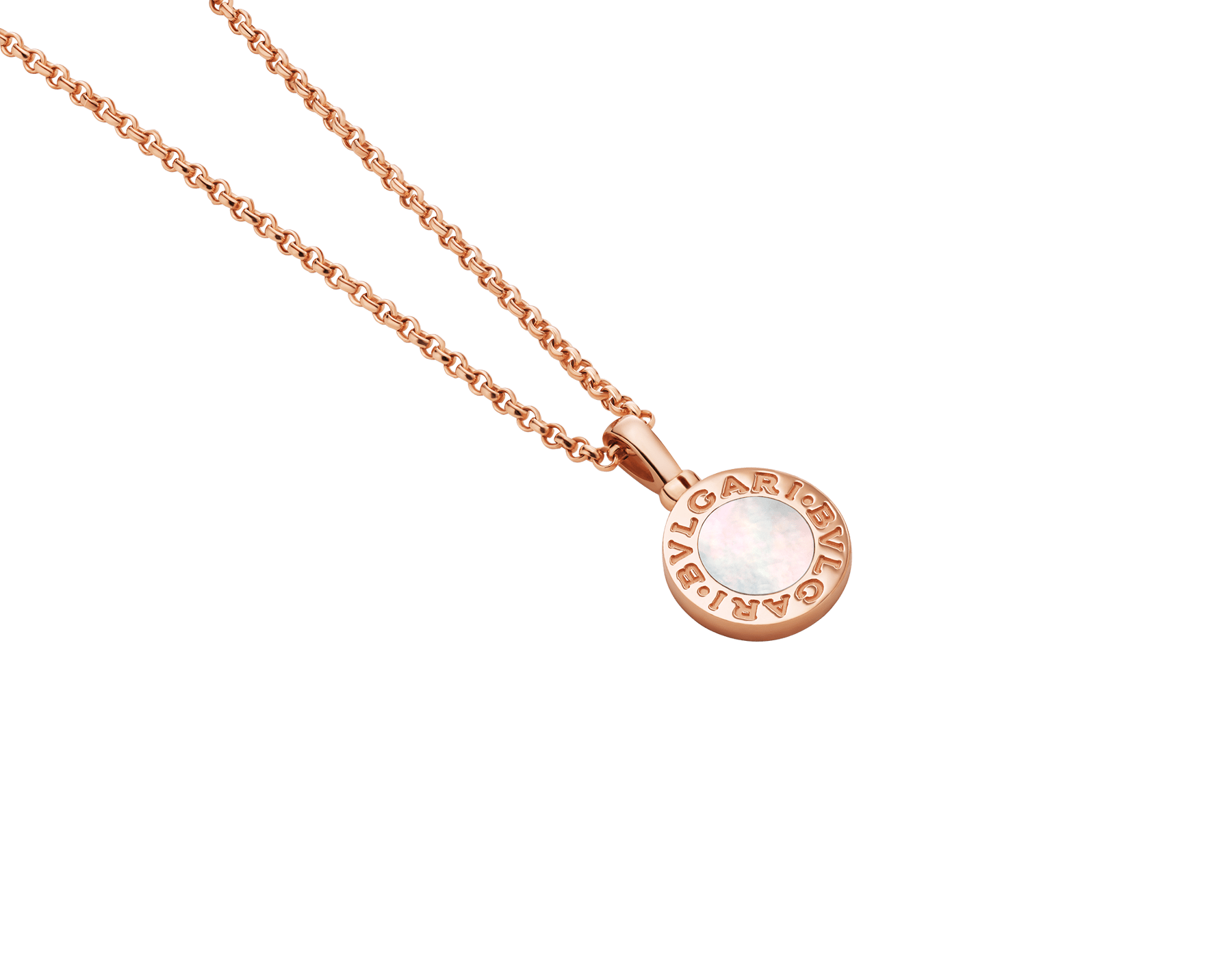 Collar con colgante BVLGARI BVLGARI en oro rosa de 18qt con inserción de madreperla y personalizable con grabado en el reverso 358376 image 3