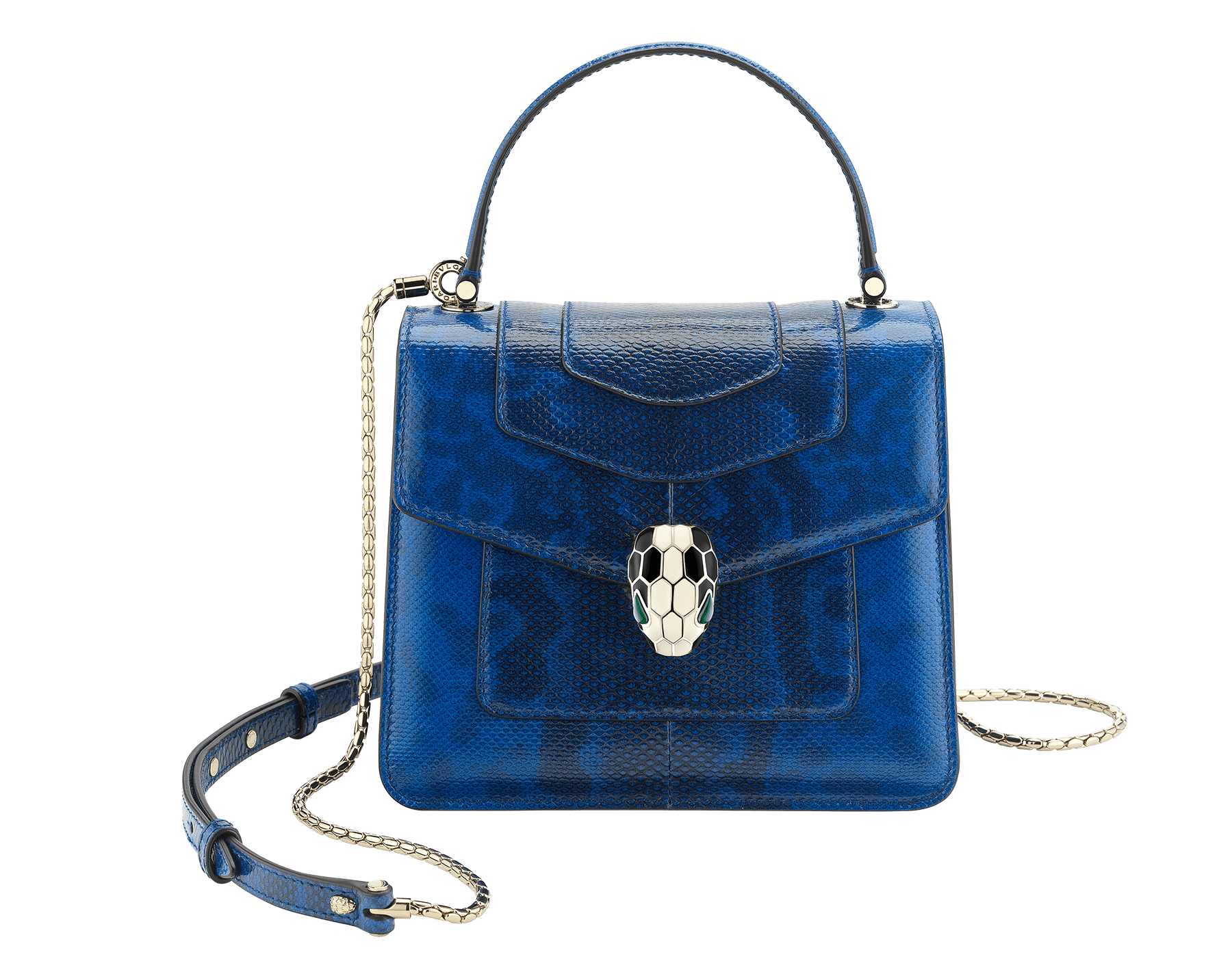 """""""Serpenti Forever """" crossbody bag in shiny cobalt tourmaline karung skin. Iconic snakehead closure in light gold plated brass enriched with black and white enamel and green malachite eyes 287335 image 1"""
