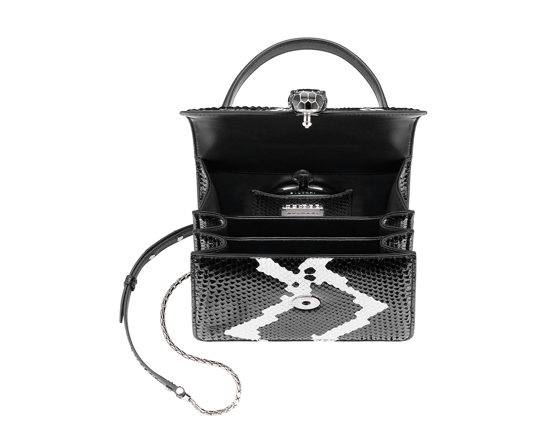Serpenti Forever crossbody bag in black and white python skin with Whitethunder motif. Snakehead closure in shiny palladium plated brass decorated with black enamel, and black onyx eyes. 752-Pa image 4