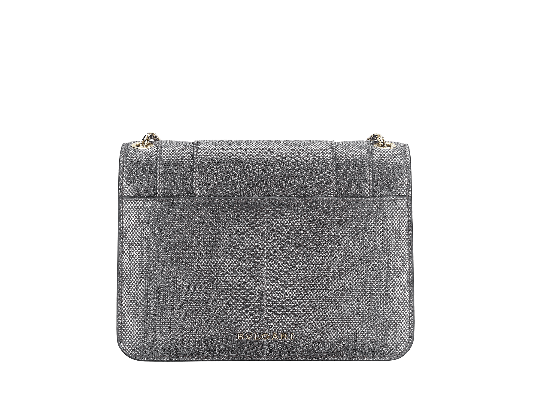 """Serpenti Forever"" crossbody bag in charcoal diamond metallic karung skin. Iconic snakehead closure in light gold plated brass enriched with black and glitter hawk's eye enamel and black onyx eyes. 289900 image 3"