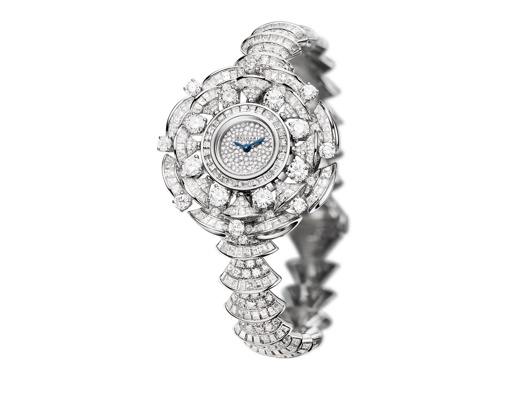 DIVAS' DREAM watch with 18 white gold case set with baguette, round and brilliant-cut diamonds, snow pavé dial and 18 kt white gold bracelet set with brilliant-cut diamonds 102078 image 1
