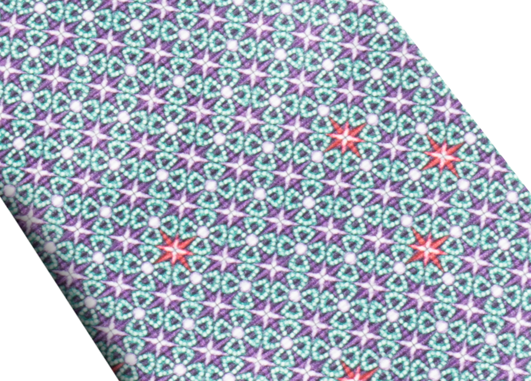 Cravate sept plis Fiorever Marino violette en fine serge de soie imprimée. 243652 image 2