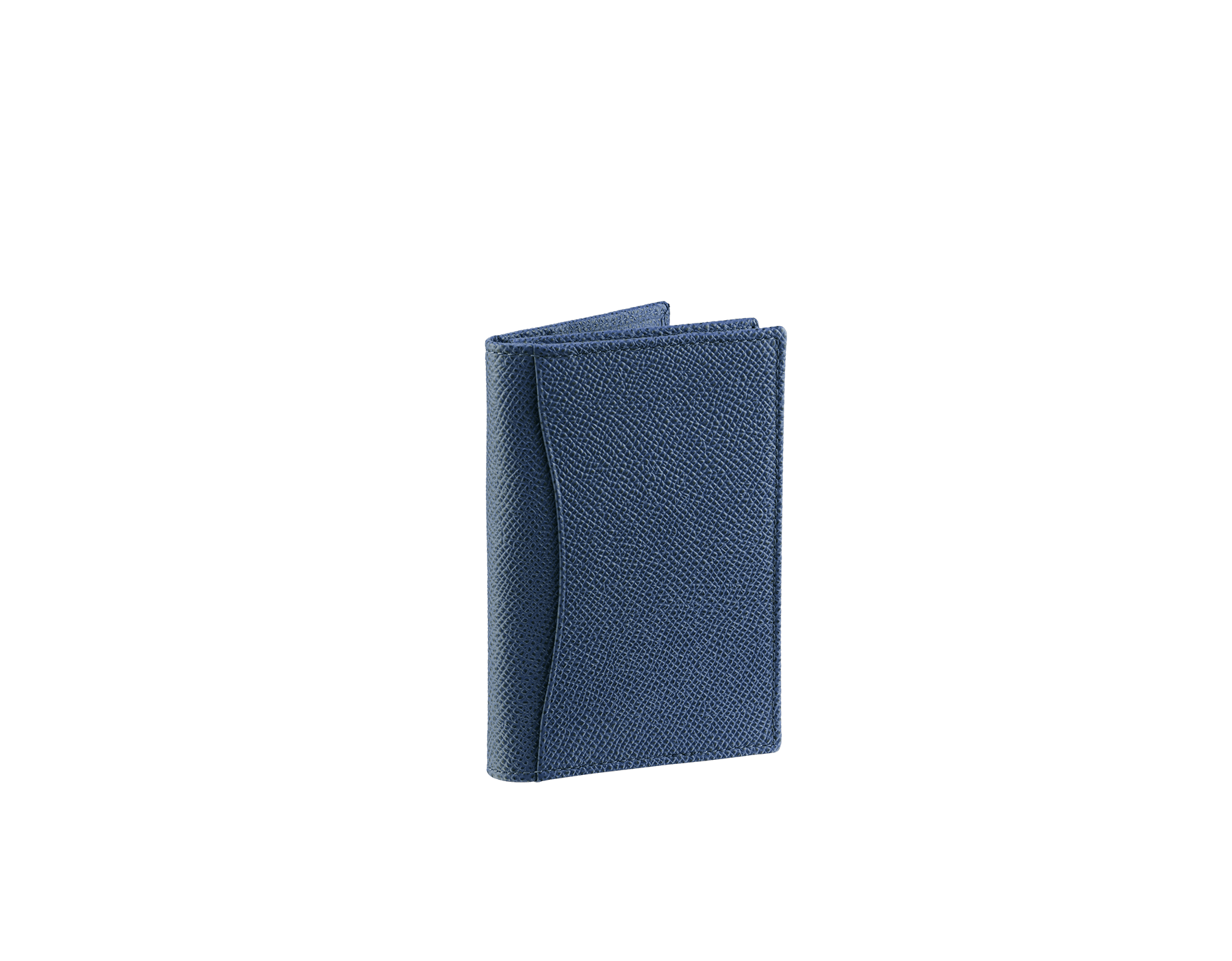Business card holder in denim sapphire grain calf leather with brass palladium plated Bulgari Bulgari motif. Three credit card slots, one open pocket and business cards compartment. BBM-BC-HOLD-SIMPLEa image 3