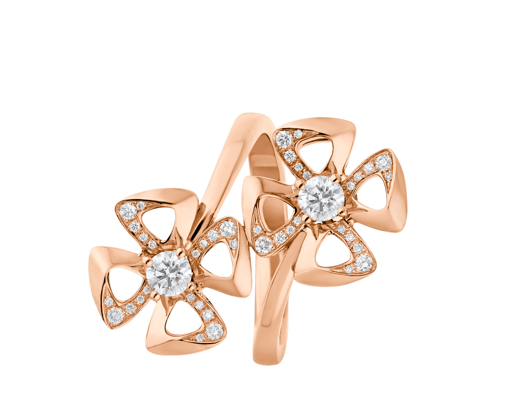 Fiorever 18 kt rose gold ring set with two round brilliant-cut diamonds and pavé diamonds. AN858753 image 2