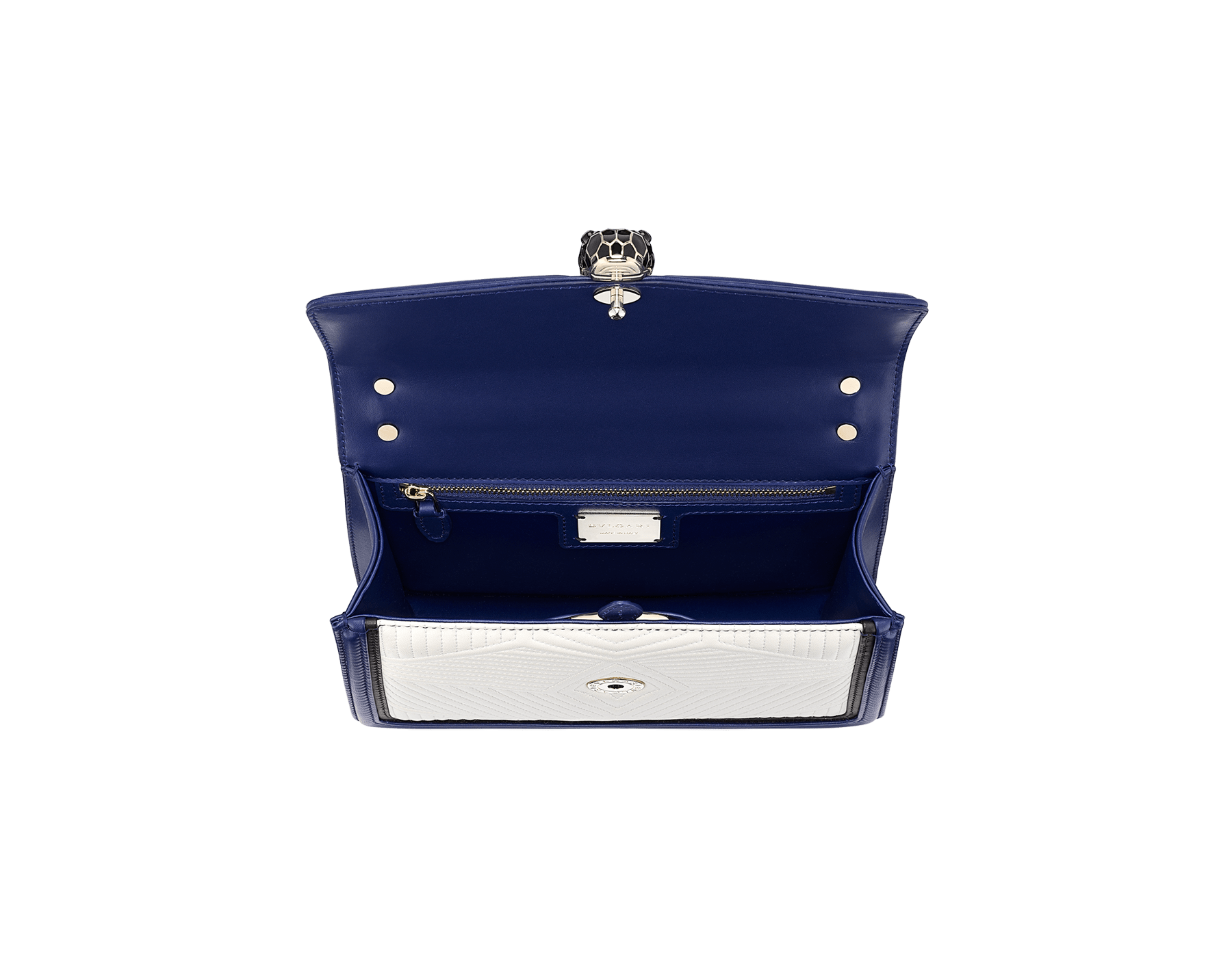 """Serpenti Diamond Blast"" shoulder bag in quilted, agate-white nappa leather with Royal Sapphire blue and black calfskin edging and Royal Sapphire blue nappa leather inner lining. Iconic snakehead closure in light gold-plated brass embellished with black and agate-white enamel and black onyx eyes. 922-FQDb image 3"