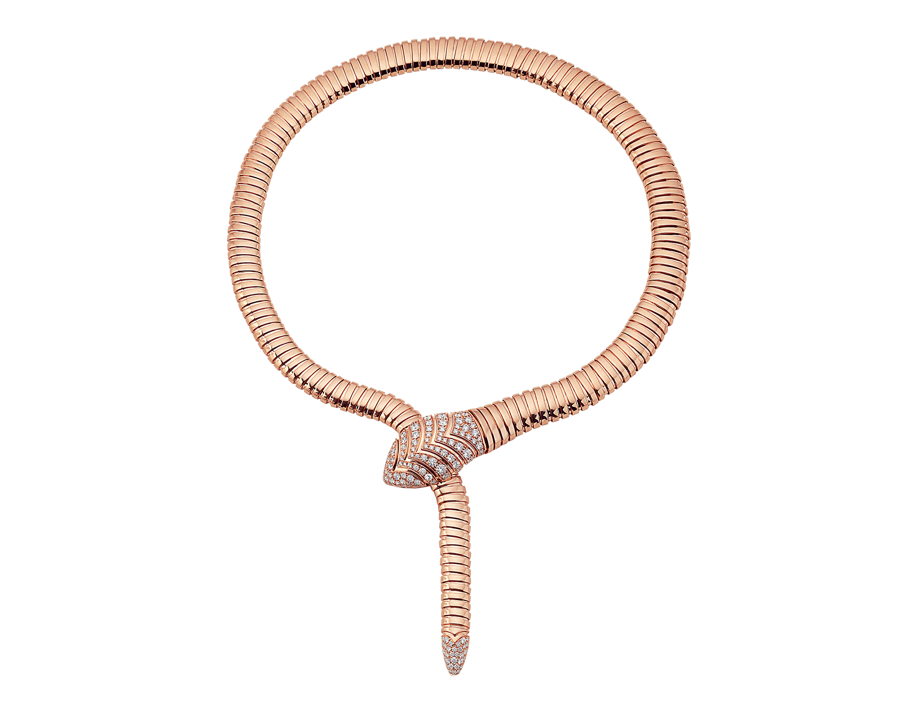 Collier Serpenti Tubogas en or rose 18 K avec pavé diamants sur la queue et la tête. 350680 image 1
