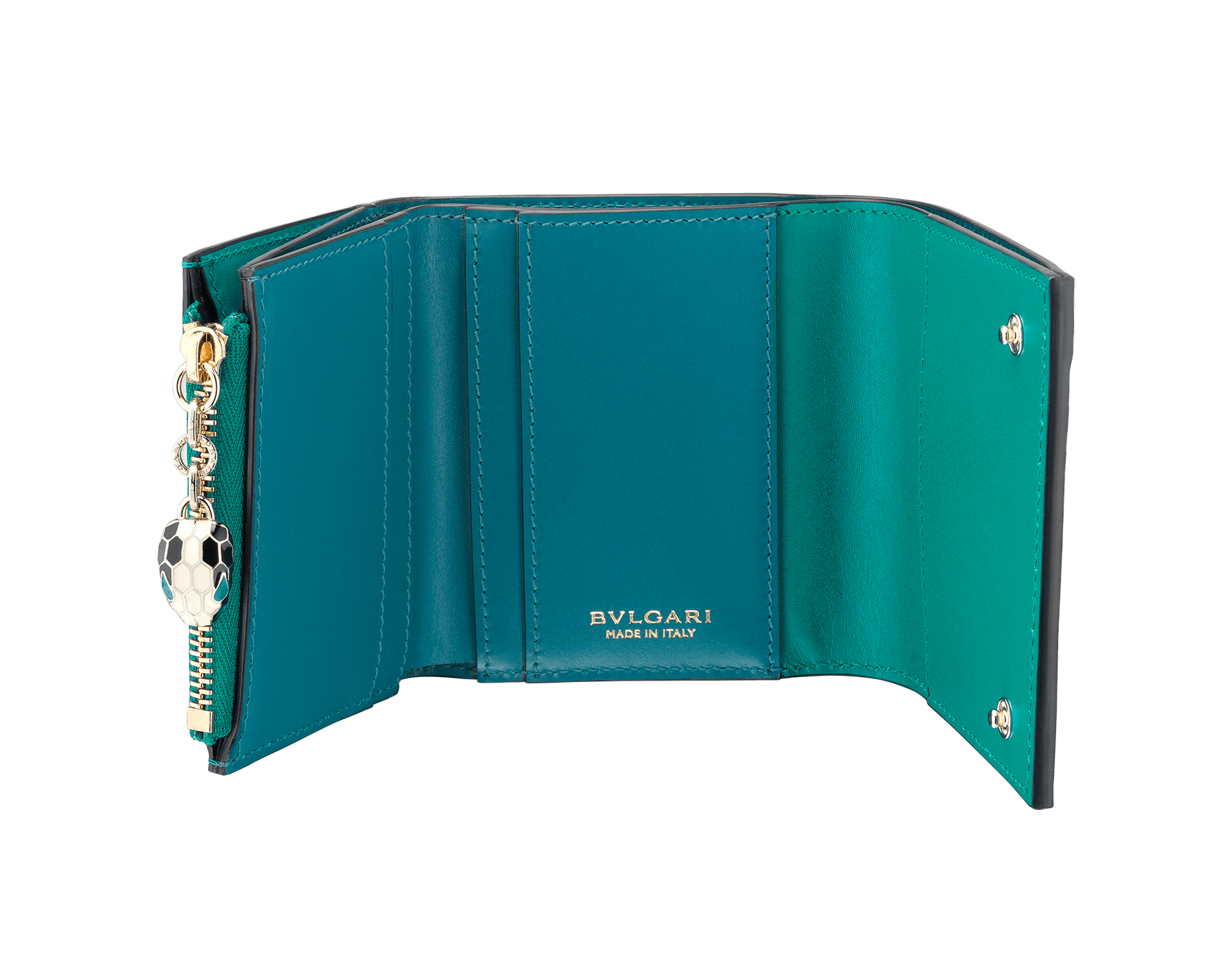 Serpenti Forever super compact wallet in tropical tourquoise and deep jade calf leather. Iconic snakehead stud closure in black and white enamel, with green malachite enamel eyes. 288038 image 2