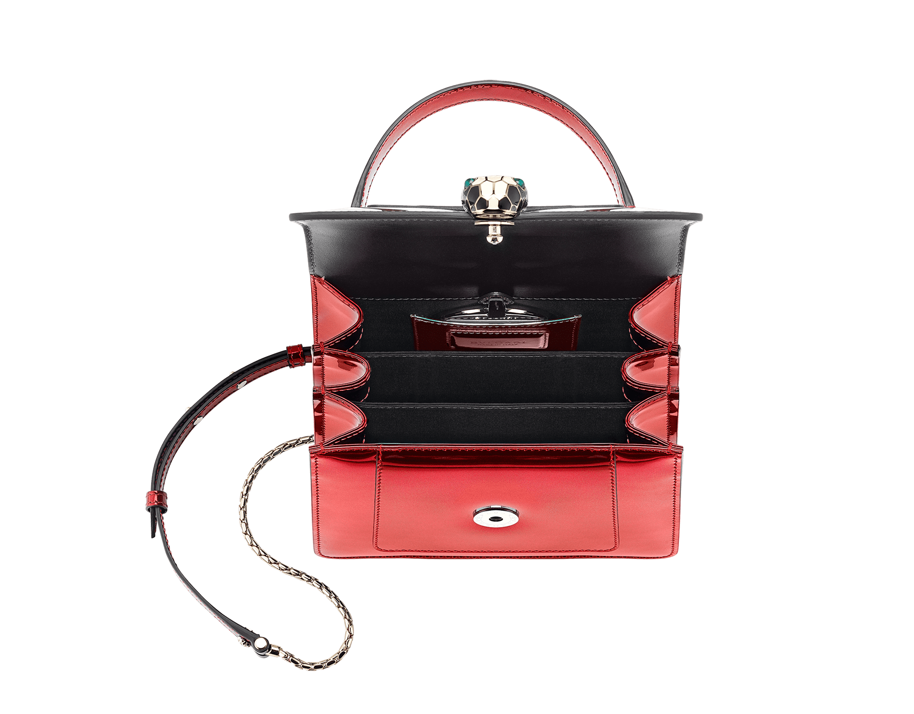 """Serpenti Forever"" crossbody bag in roman garnet brushed metallic calf leather. Iconic snakehead closure in light gold plated brass enriched with black and white enamel and green malachite eyes. 287955 image 4"