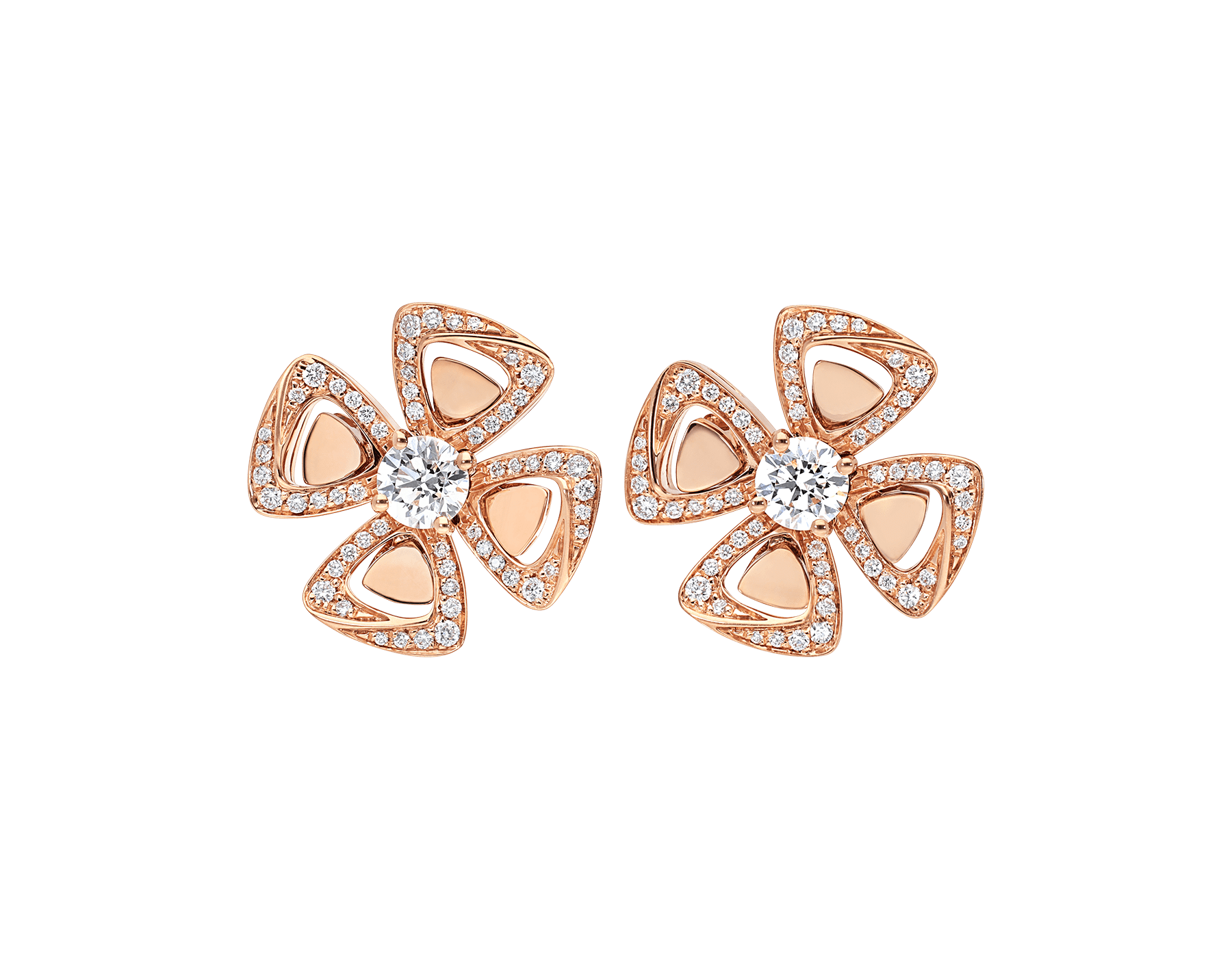 Fiorever 18 kt rose gold earrings set with two central diamonds (0.20 ct each) and pavé diamonds (0.25 ct) 356280 image 1