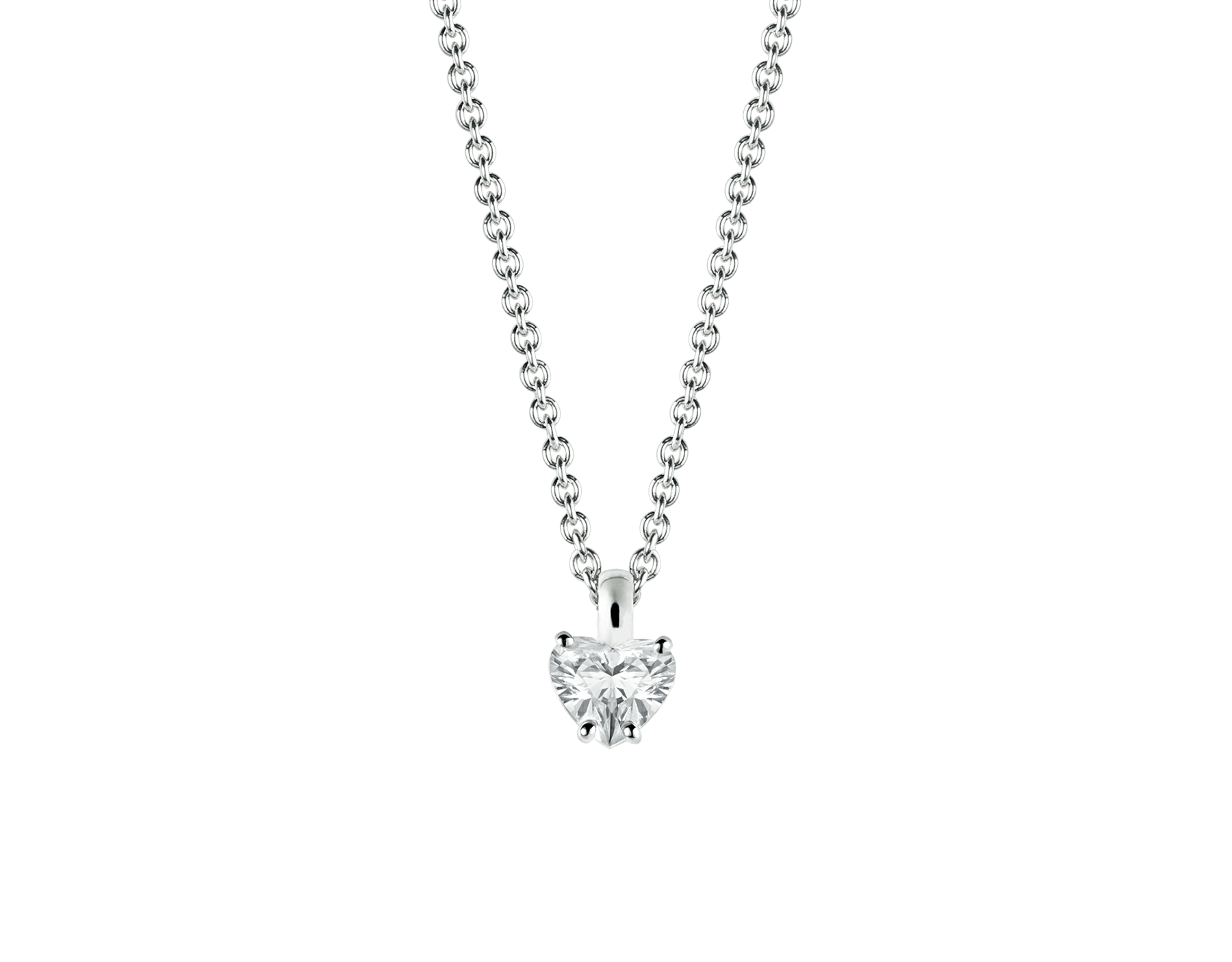 Griffe 18 kt white gold pendant with heart cut diamond and 18 kt white gold chain 338204 image 1