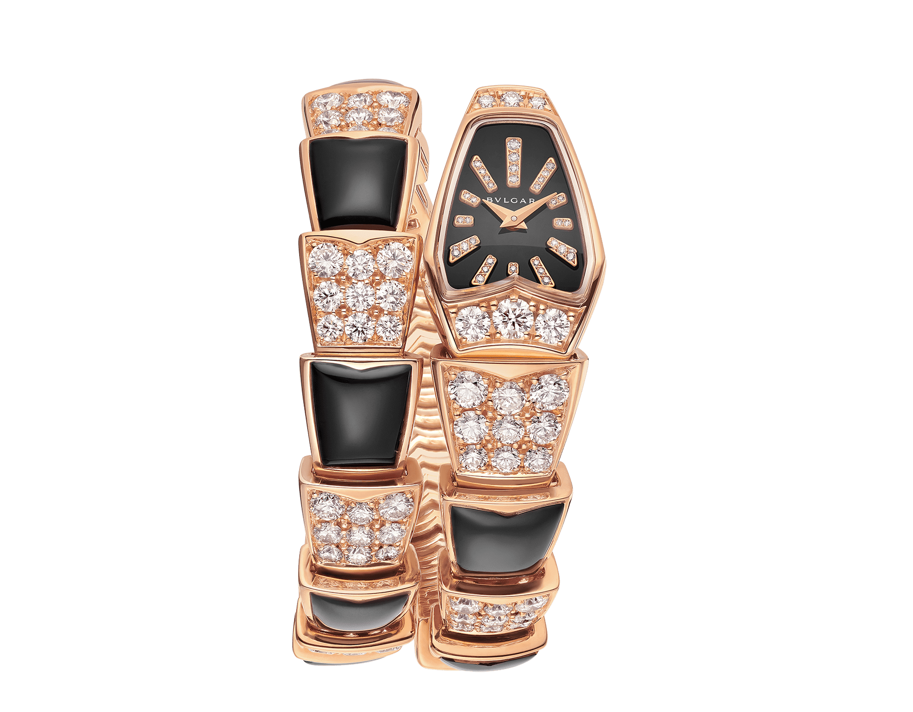 Serpenti Jewellery Watch with 18 kt rose gold case set with brilliant cut diamonds, black sapphire crystal dial, diamond indexes and 18 kt rose gold single spiral bracelet set with brilliant cut diamonds and black onyx. 101790 image 1