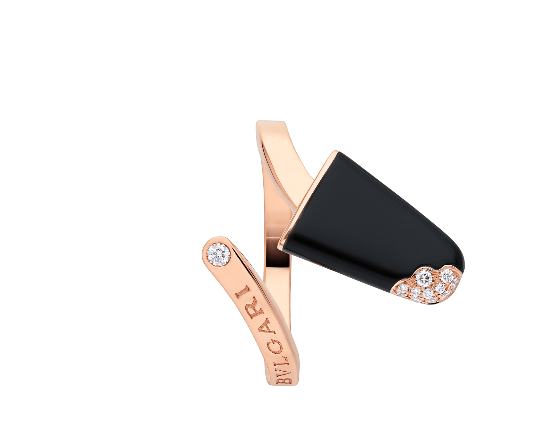 BVLGARI BVLGARI Gelati 18 kt rose gold ring set with onyx and pavé diamonds AN858499 image 3