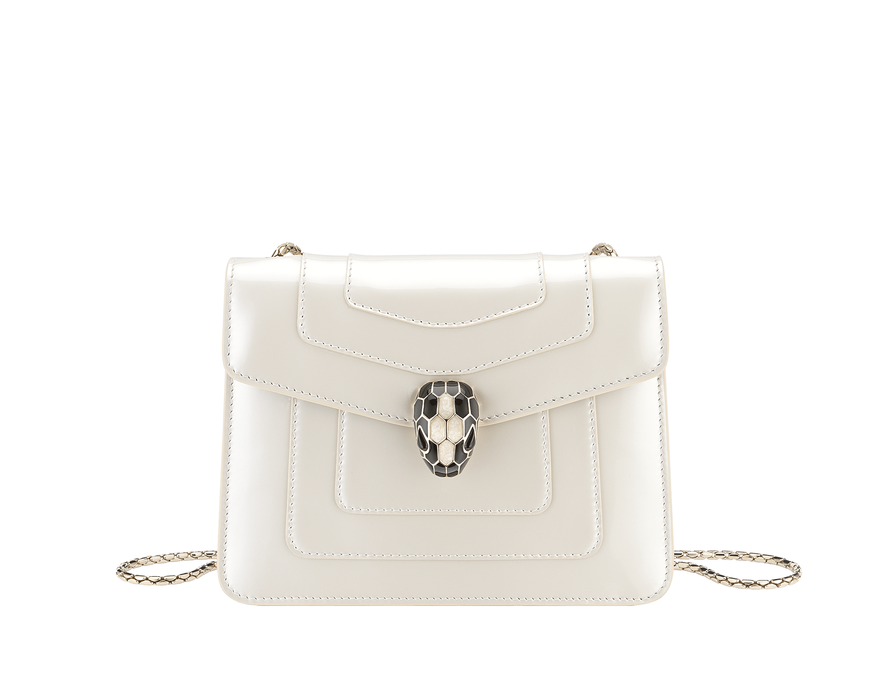 """Serpenti Forever"" crossbody bag in white agate calf leather with a varnished and pearled effect. Iconic snakehead closure in light gold plated brass enriched with black and pearled white agate enamel, and black onyx eyes 289769 image 1"