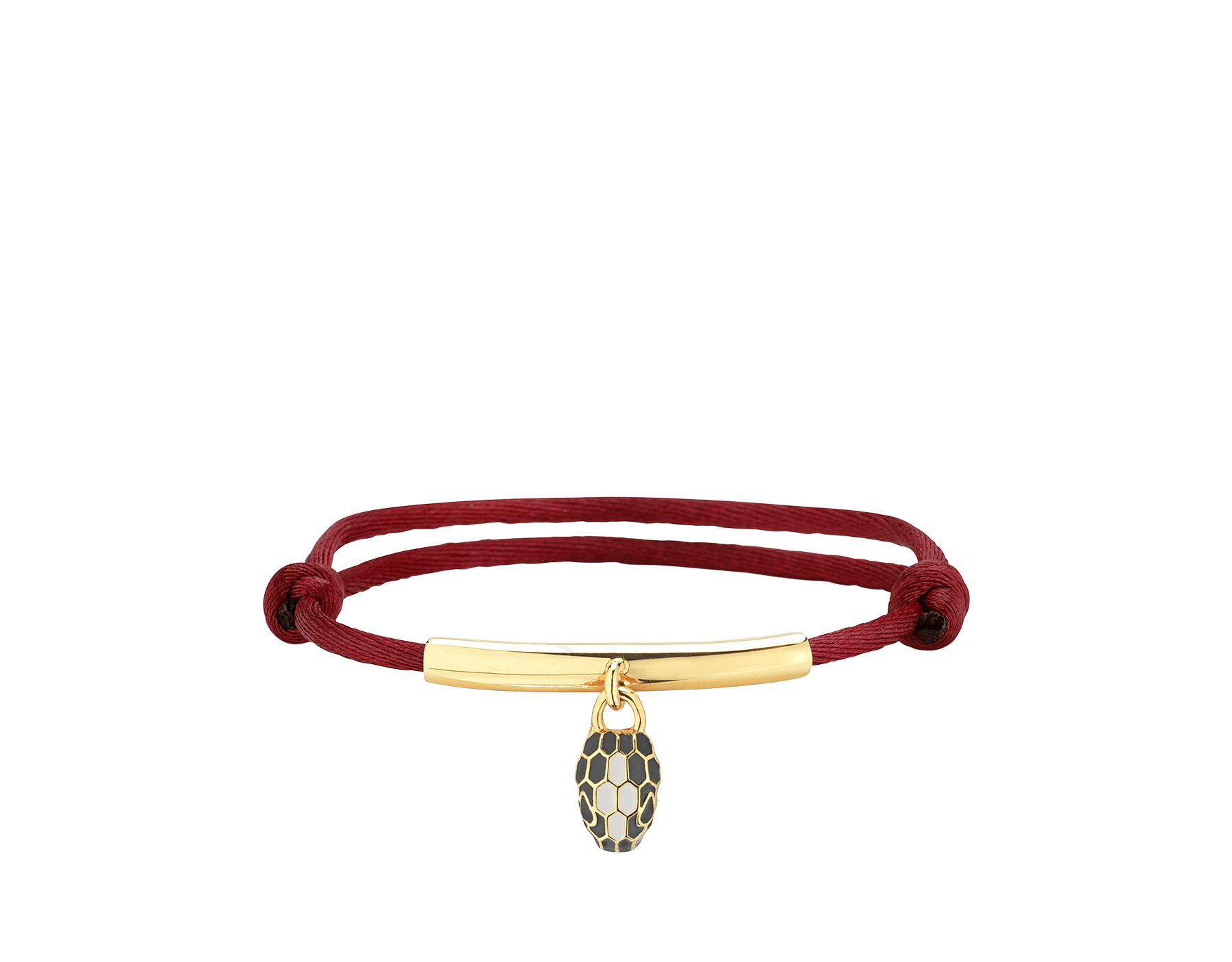 """""""Serpenti Forever"""" bracelet in daisy topaz silk with a palladium plated brass plate and an iconic snakehead charm in black and white agate enamel and black enamel eyes. SERP-MINISTRING image 1"""
