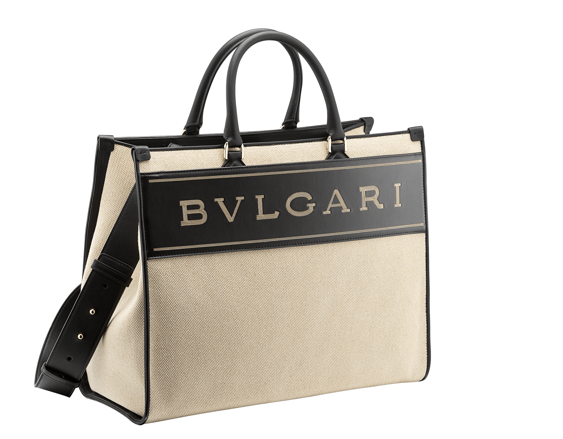 """""""Bvlgari Logo"""" large tote bag in black calf leather, with black grosgrain inner lining. Bvlgari logo featured with dark ruthenium-plated brass chain inserts on the black calf leather. BVL-1160 image 2"""