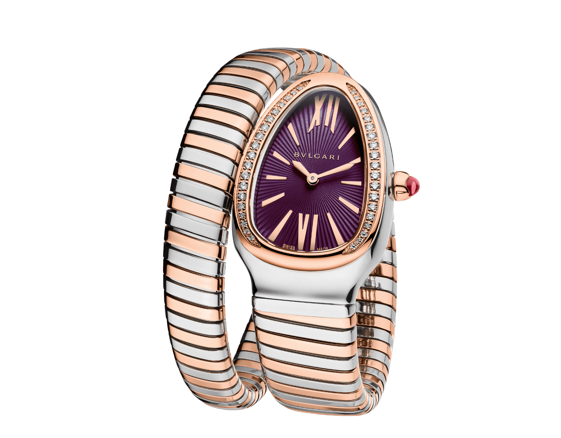 Serpenti Tubogas single spiral watch with stainless steel case, 18 kt rose gold bezel set with brilliant cut diamonds, violet lacquered dial, 18 kt rose gold and stainless steel bracelet. 102493 image 2
