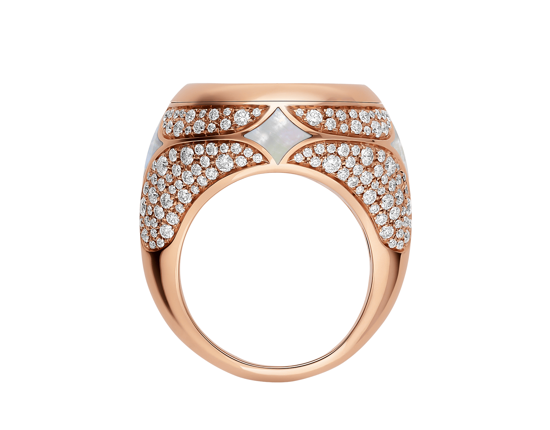 Monete 18 kt rose gold ring set with an ancient coin, mother-of-pearl elements and pavé diamonds AN858424 image 2