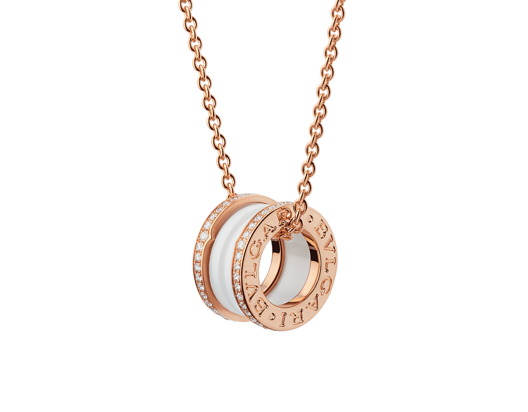B.zero1 necklace with 18 kt rose gold chain and round pendant with two 18 kt rose gold loops set with pavé diamonds on the edges and a white ceramic spiral. 350053 image 1