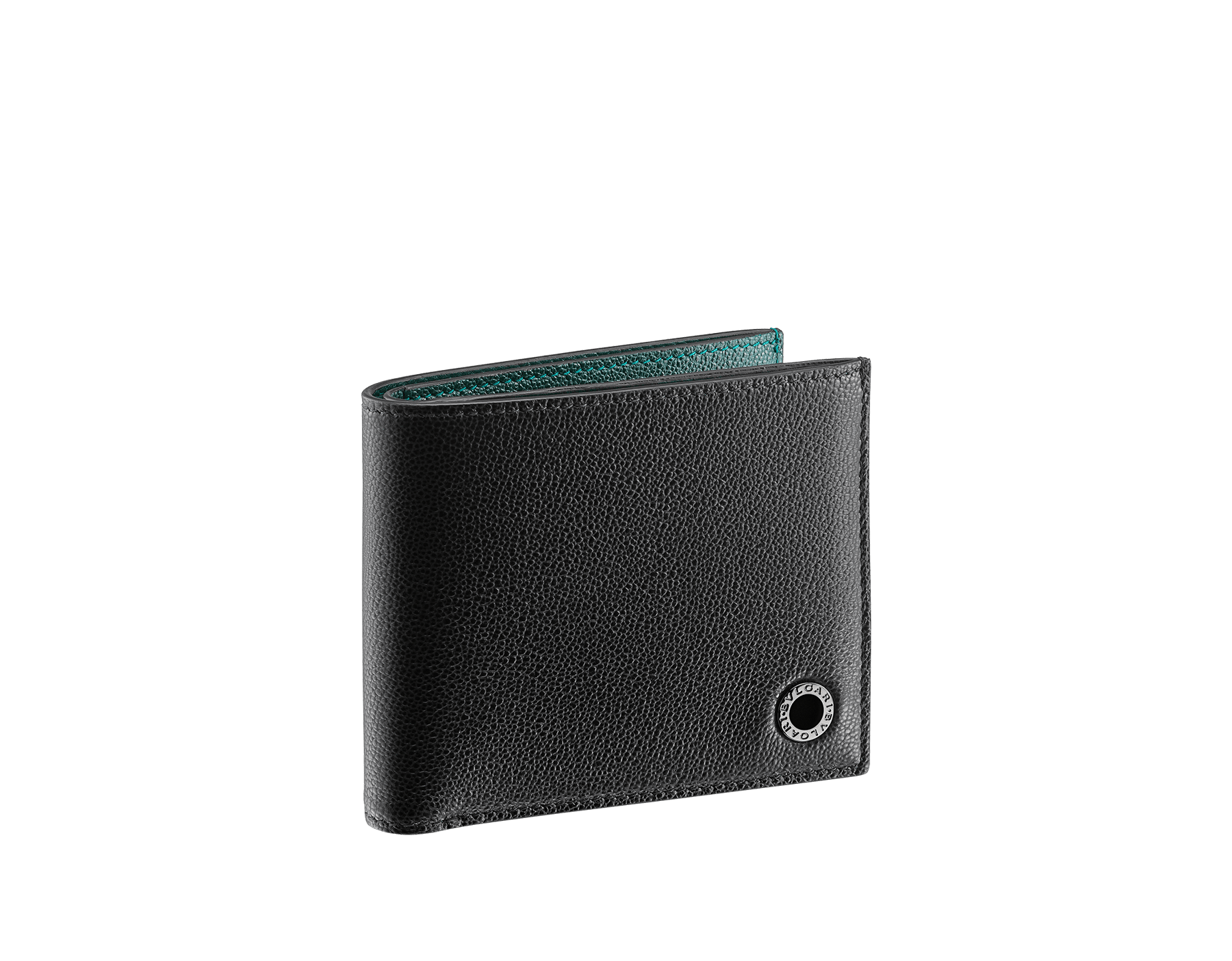 """""""BVLGARI BVLGARI"""" men's compact wallet in black and Forest Emerald green """"Urban"""" grain calf leather. Iconic logo embellishment in dark ruthenium-plated brass with black enameling. BBM-WLT2FASYM image 1"""