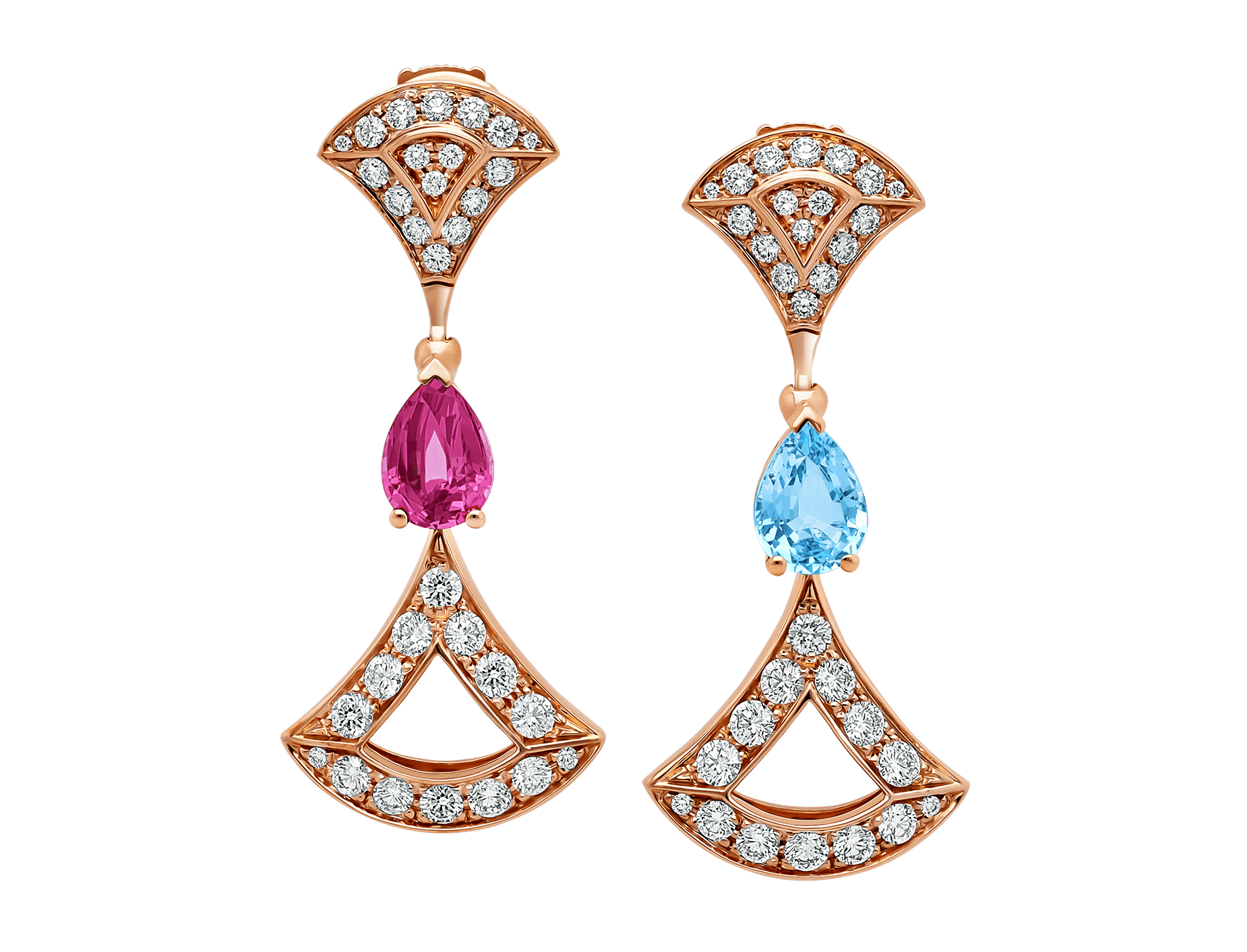 Boucles d'oreilles DIVAS' DREAM en or rose 18 K serties de pierres de couleur et pavé diamants 355620 image 1