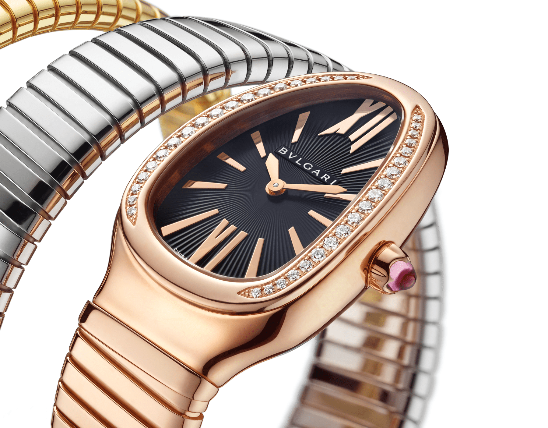 Serpenti Tubogas double spiral watch with 18 kt rose gold case set with round brilliant-cut diamonds, black opaline dial and 18 kt rose, yellow and white gold bracelet 102948 image 3