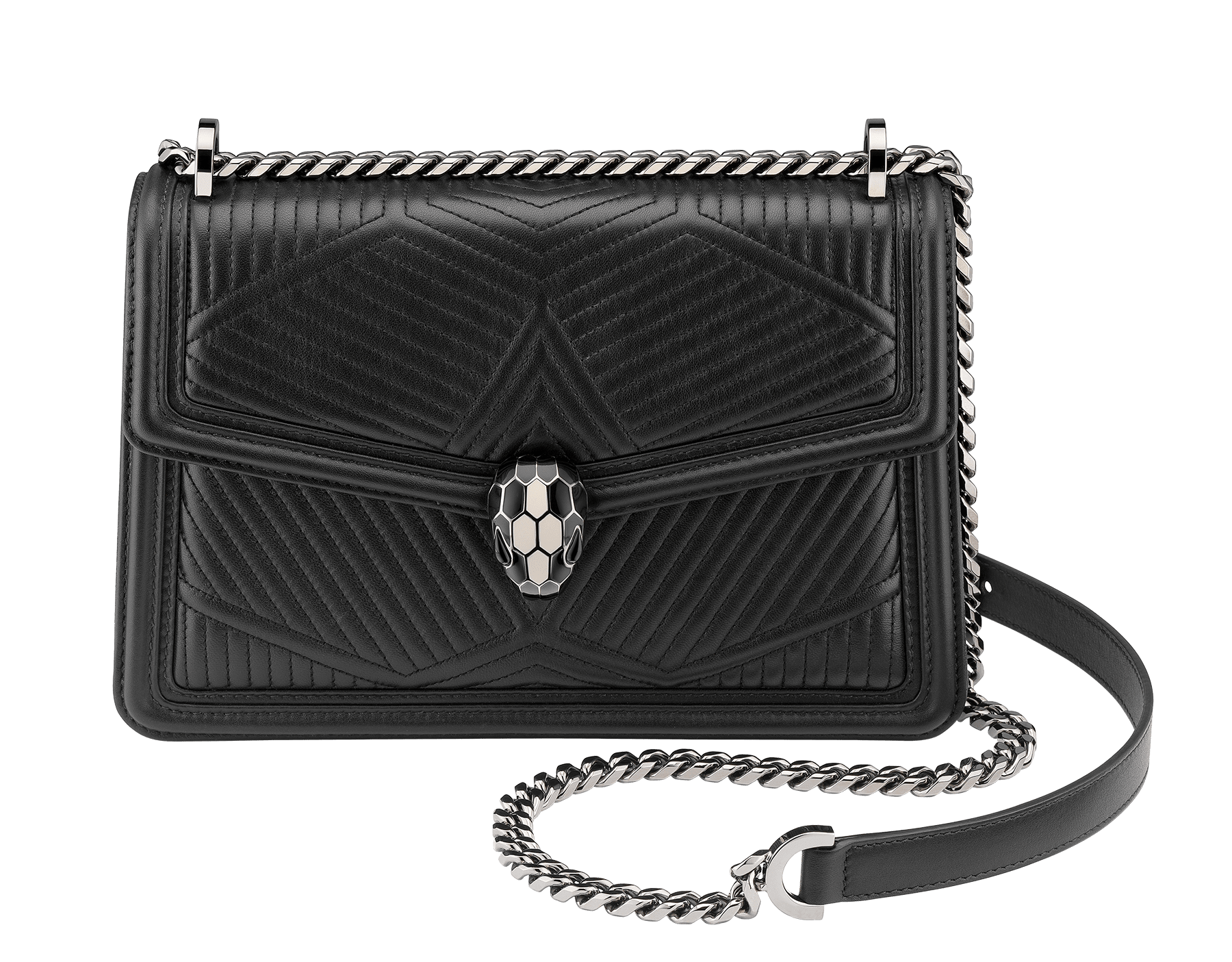 """Serpenti Diamond Blast"" shoulder bag in black quilted nappa leather body and black calf leather frames. Iconic snakehead closure in dark ruthenium plated brass enriched with black and white enamel and black onyx eyes. 287371 image 1"