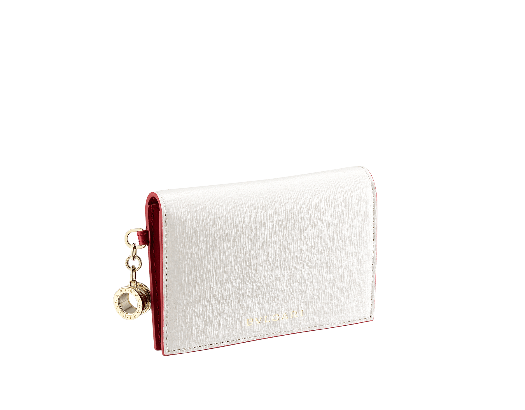 """""""B.zero1"""" folded card holder in white agate and ruby red goatskin and ruby red calf leather. Iconic B.zero1 charm in light gold-plated brass. 290663 image 1"""