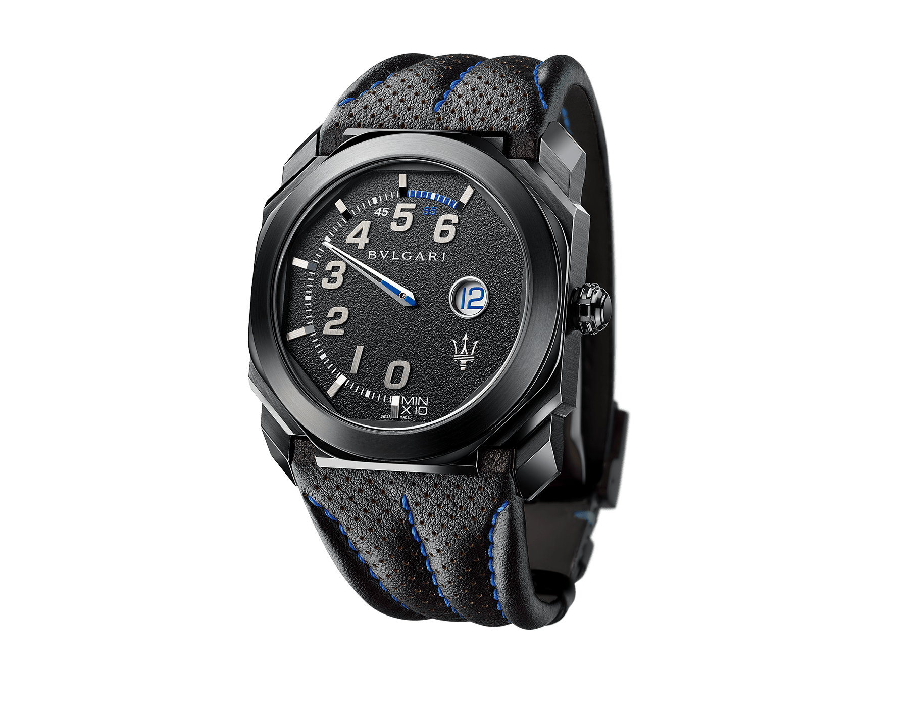 Relógio Octo Maserati GranSport edição limitada Mono-Retro com movimento de manufatura mecânico, corda automática, horas saltantes e minutos retrógrados. Caixa em aço inoxidável com tratamento em carbono tipo diamante (DLC) preto, mostrador preto e pulseira em couro preto. 102717 image 1