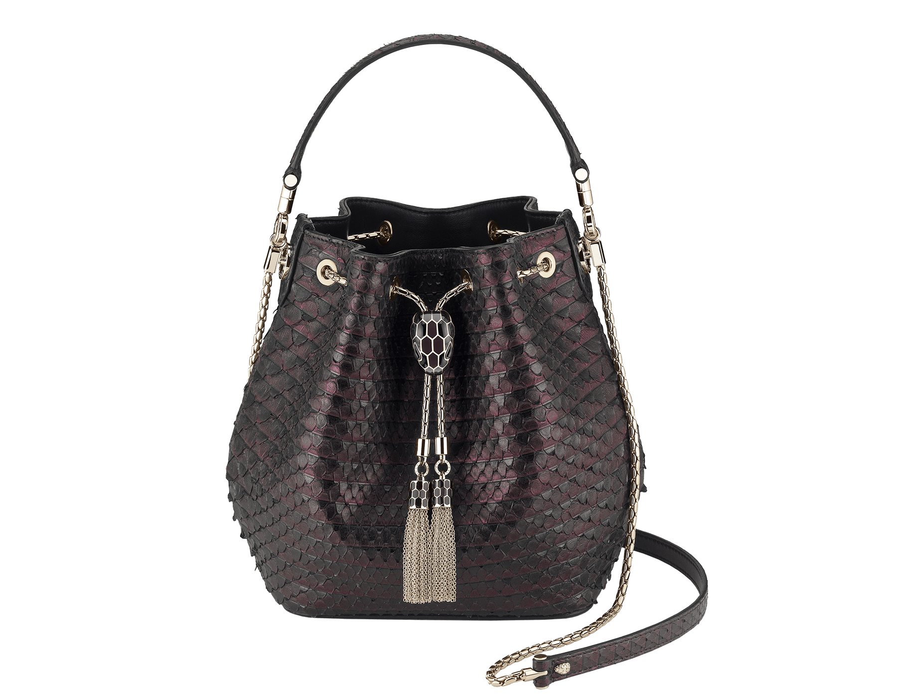 Bucket Serpenti Forever in plum amethyst Plissé python skin and black nappa internal lining. Hardware in light gold plated brass and snakehead closure in black and plum amethyst enamel, with eyes in black onyx. 934-PP image 1