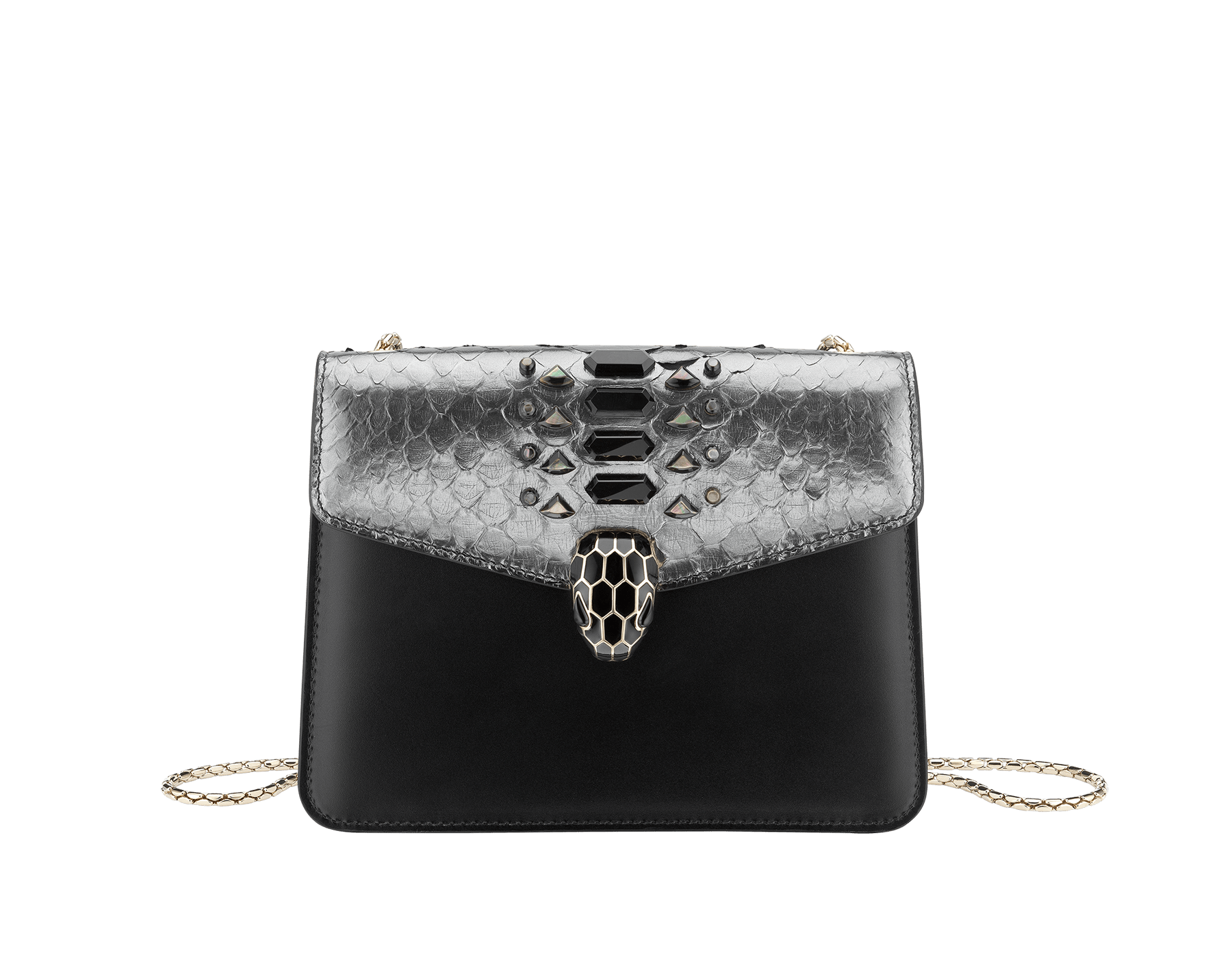 """""""Serpenti Forever"""" crossbody bag in dark silver python skin flap with onyx scales applied and black smooth calf leather body. Iconic snakehead closure in light gold plated brass enriched with matte and shiny black enamel and black onyx eyes. 289420 image 1"""