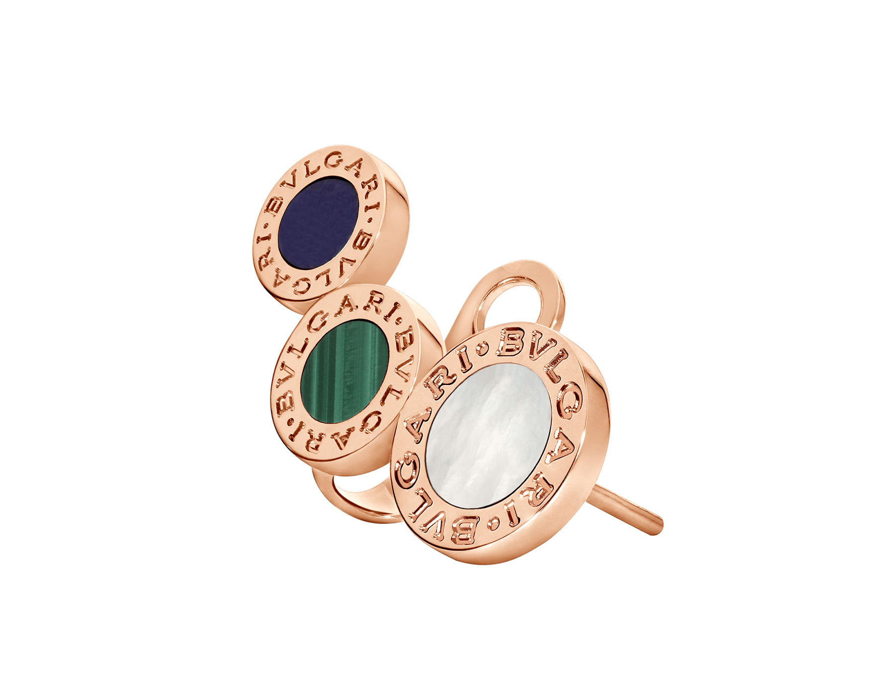 BVLGARI BVLGARI 18 kt rose gold single earring with sugilite, malachite and mother-of-pearl elements 356431 image 2