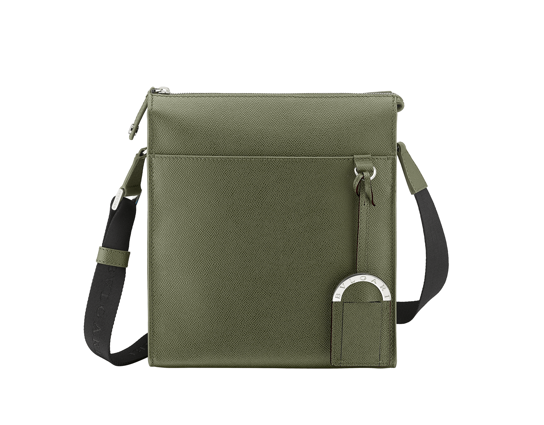 """BVLGARI BVLGARI"" zip-top messenger bag in mimetic jade grain calf leather with brass palladium plated hardware. BBM-001-0624S image 1"