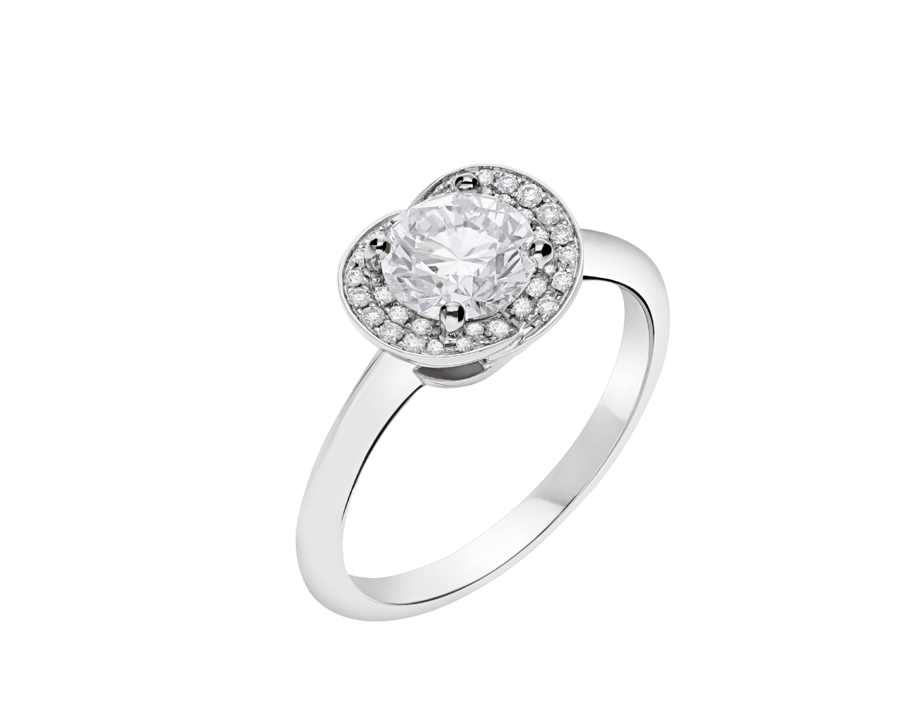 Incontro d'Amore platinum ring set with a round brilliant-cut diamond and a halo of pavé diamonds. 355409 image 2