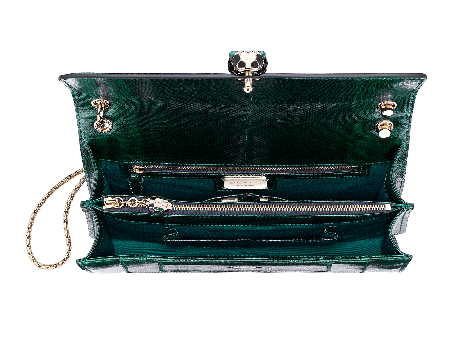 Flap cover bag Serpenti Forever in roman garnet shiny karung skin. Brass light gold plated tempting snake head closure in shiny black and white enamel, with eyes in green malachite. 521-SK image 5