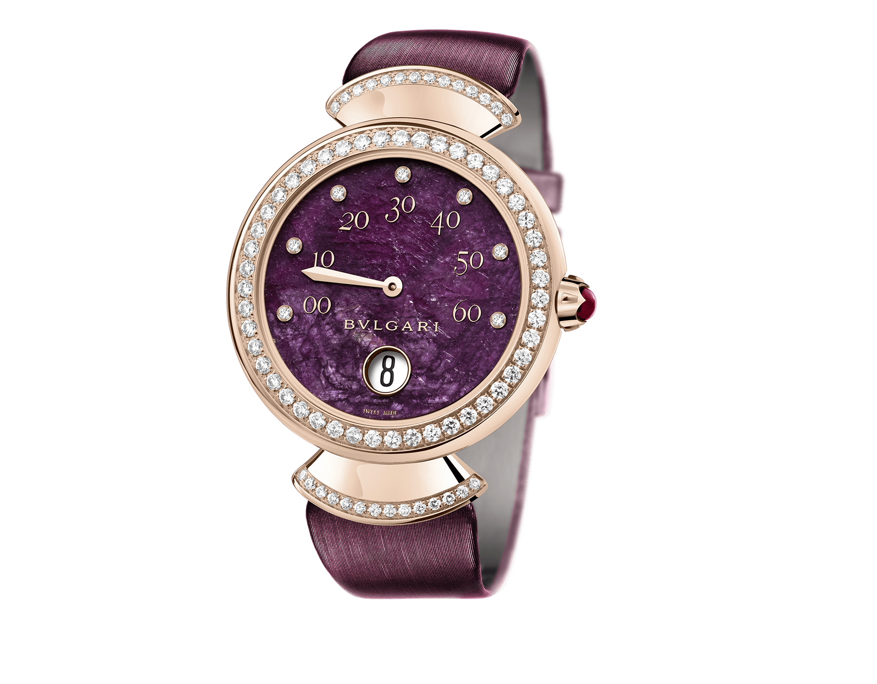 DIVAS' DREAM watch with mechanical manufacture movement, jumping hours, retrograde minutes (180°) and automatic winding. 18 kt rose gold case set with brilliant-cut diamonds, heart of ruby dial, diamond indexes and violet satin bracelet 102545 image 1