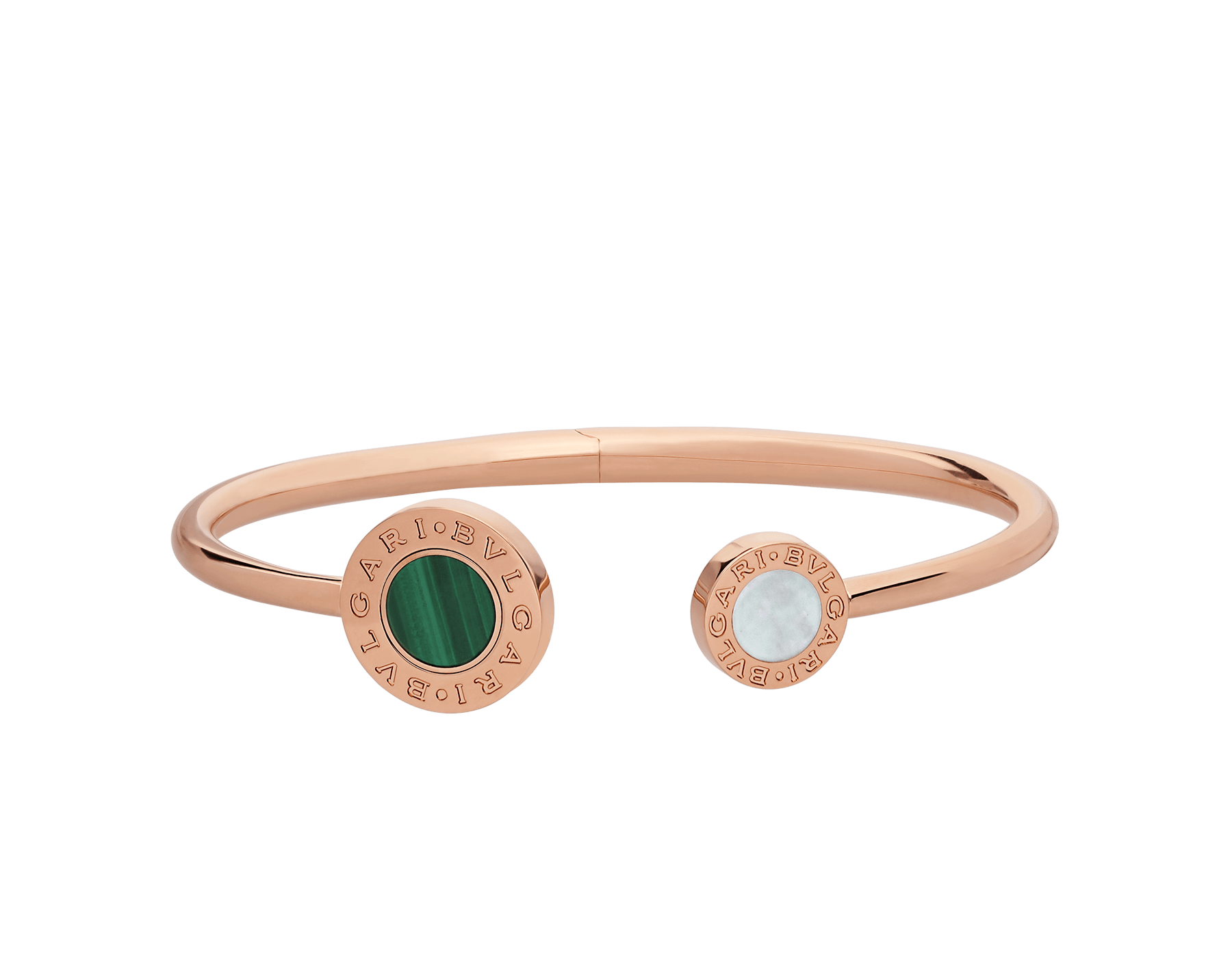 BVLGARI BVLGARI 18 kt rose gold flip bracelet set with mother-of-pearl, onyx and malachite elements BR858422 image 2