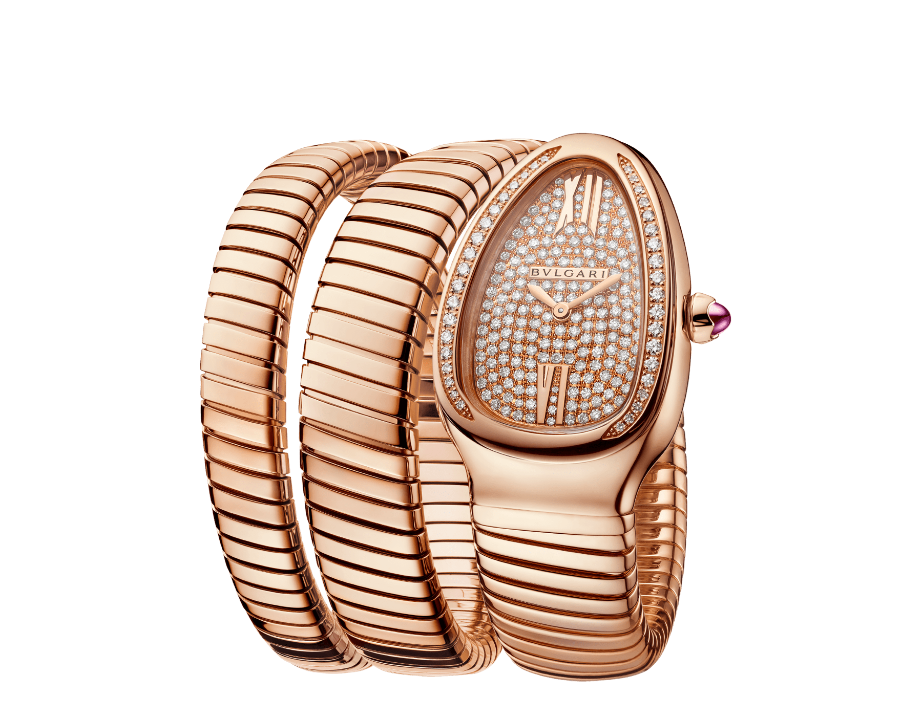 Serpenti Tubogas double spiral watch with 18 kt rose gold case set with brilliant cut diamonds, 18 kt rose gold dial set with full pavé brilliant cut diamonds and 18 kt rose gold bracelet. 101956 image 2