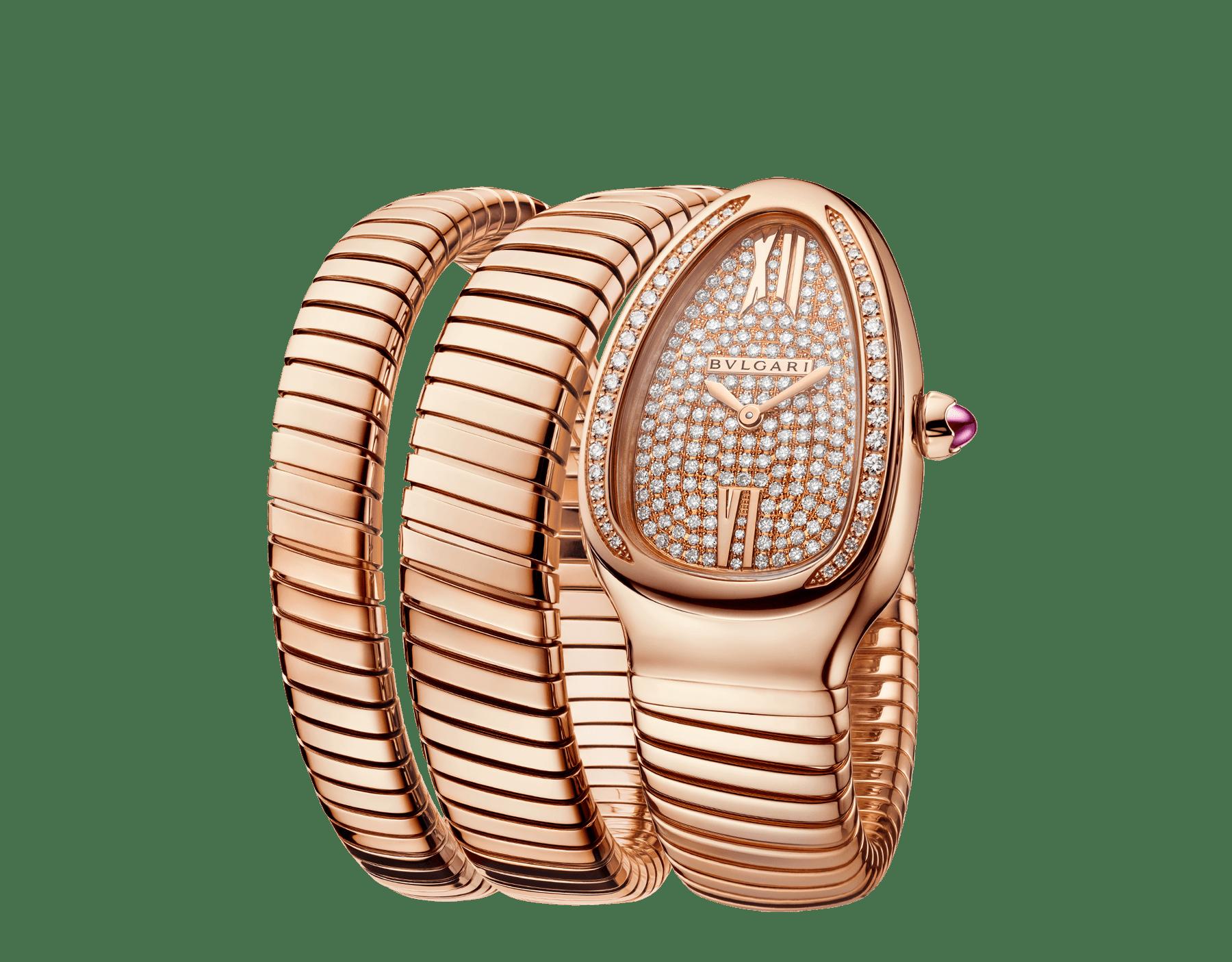 Reloj Serpenti Tubogas de dos vueltas con caja en oro rosa de 18qt con diamantes talla brillante engastados, esfera en oro rosa de 18qt con engaste integral de diamantes talla brillante y brazalete en oro rosa de 18qt. 101956 image 2