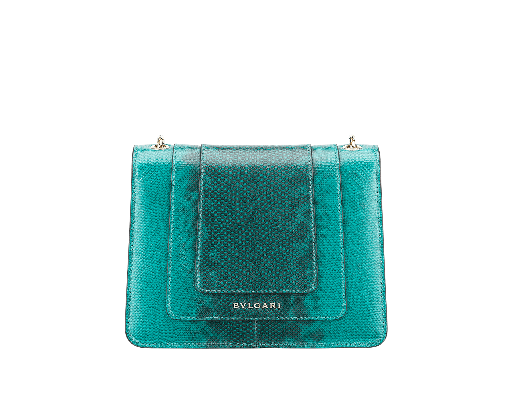 Serpenti Forever crossbody bag in tropical turquoise shiny karung skin. Snakehead closure in light gold plated brass decorated with black and white enamel, and green malachite eyes. 287912 image 3