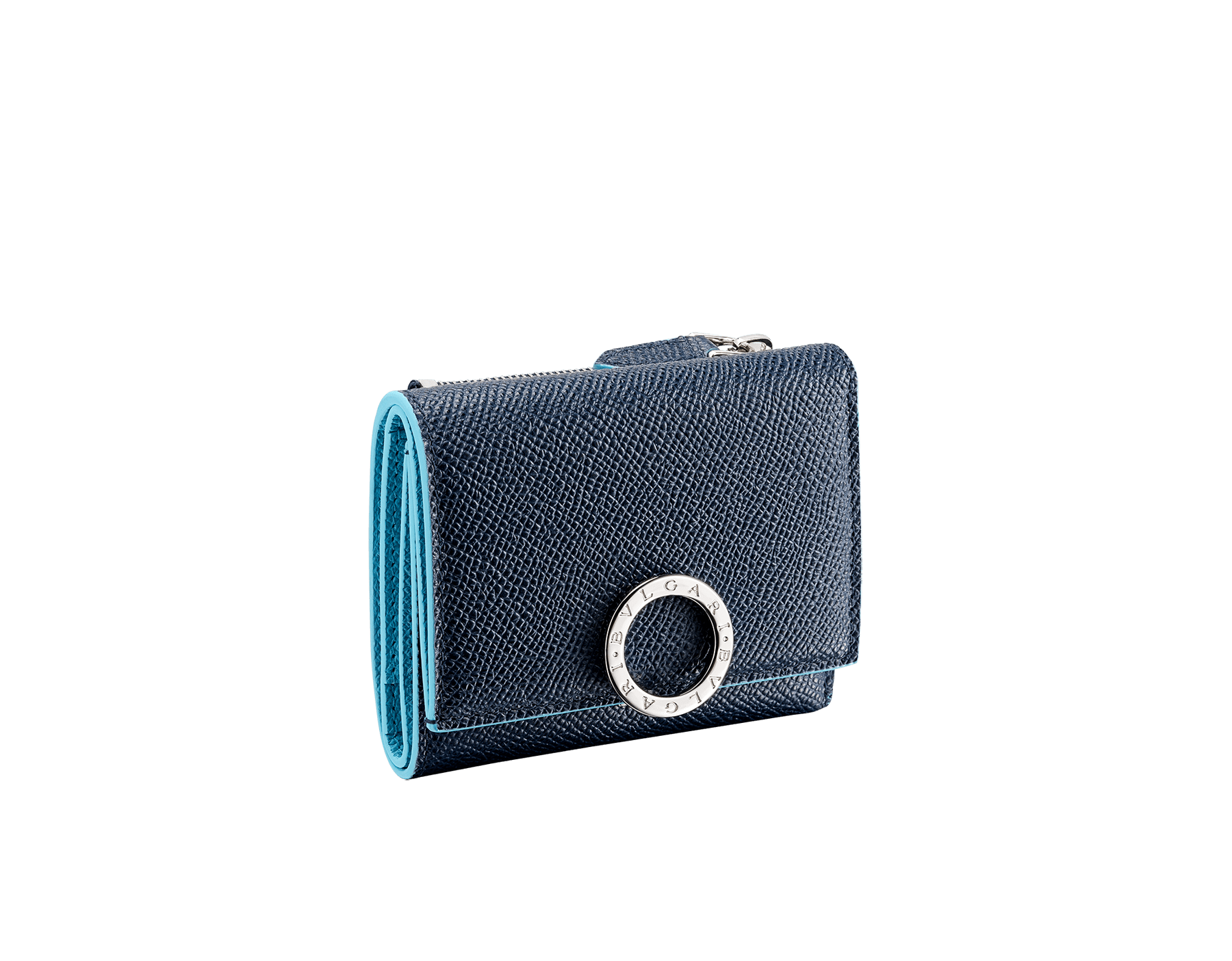 """Bvlgari Clip"" slim compact wallet in Denim Sapphire blue and Aegean Topaz light blue grained calfskin. Iconiclogo clip closure in palladium-plated brass BCM-SLIMCOMPACTa image 1"