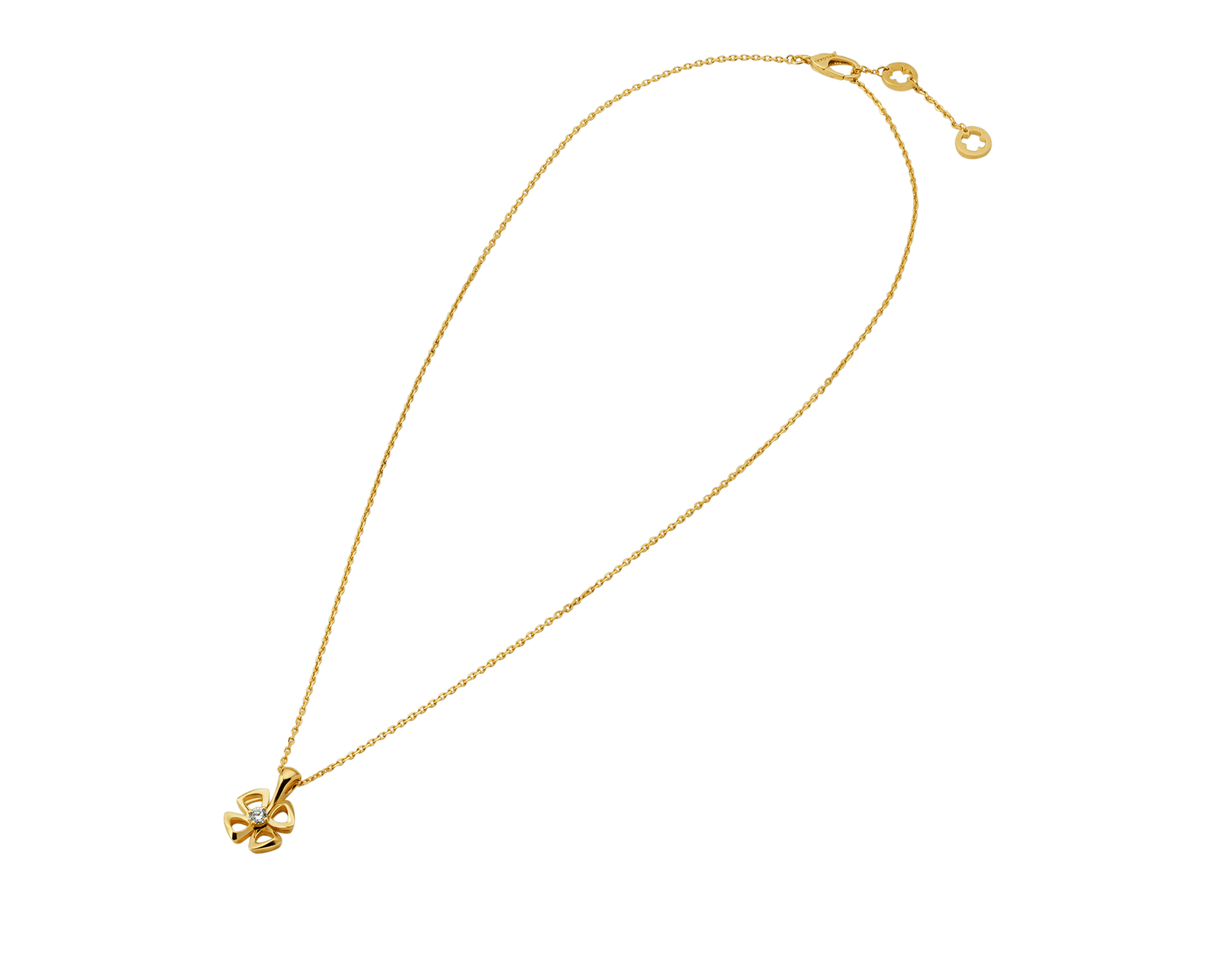 Fiorever 18 kt yellow gold necklace set with a central diamond. 357501 image 2