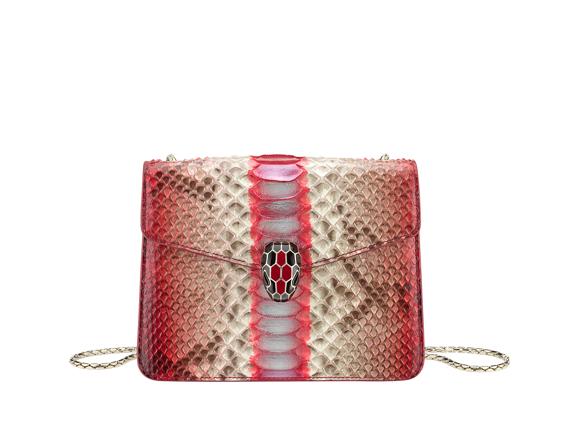 """Serpenti Forever"" crossbody bag in multicolour ""Magic Chromaline"" python skin. Iconic snakehead closure in light gold plated brass enriched with black and white enamel and black onyx eyes. 422-Pc image 1"