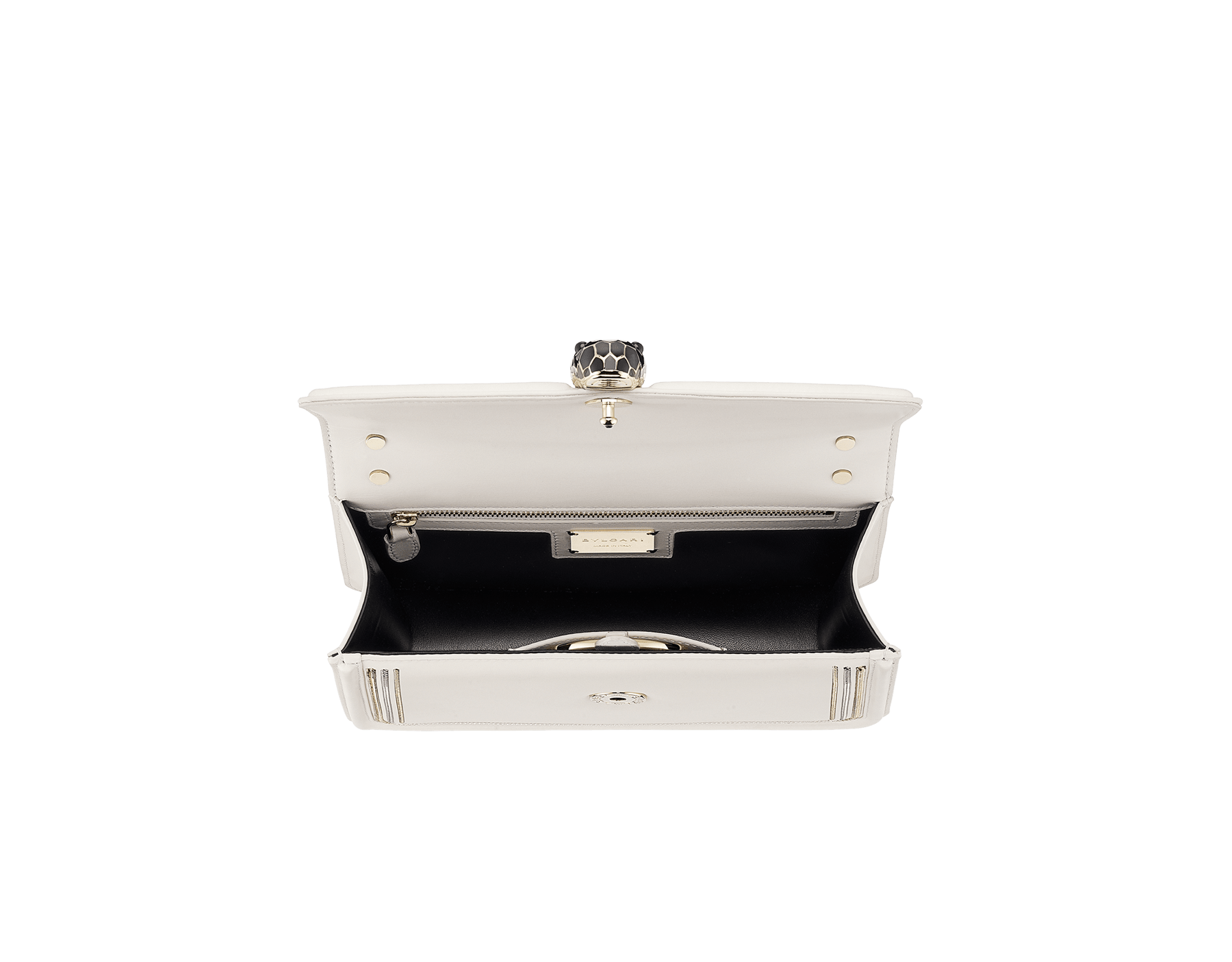 """""""Serpenti Diamond Blast"""" shoulder bag in black smooth calf leather, featuring a 3-Chain motif in light gold and palladium finishing. Iconic snakehead closure in light gold plated brass enriched with black and white enamel and black onyx eyes 922-3CFCL image 4"""