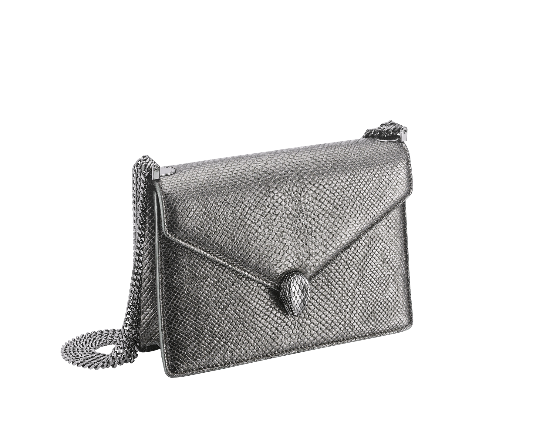 """Serpenti Forever"" multichain shoulder bag in ""Molten"" Charcoal Diamond grey karung skin with black nappa leather inner lining, offering a touch of radiance for the Winter Holidays. New Serpenti head closure in dark ruthenium-plated brass, complete with ruby-red enamel eyes. 290543 image 2"