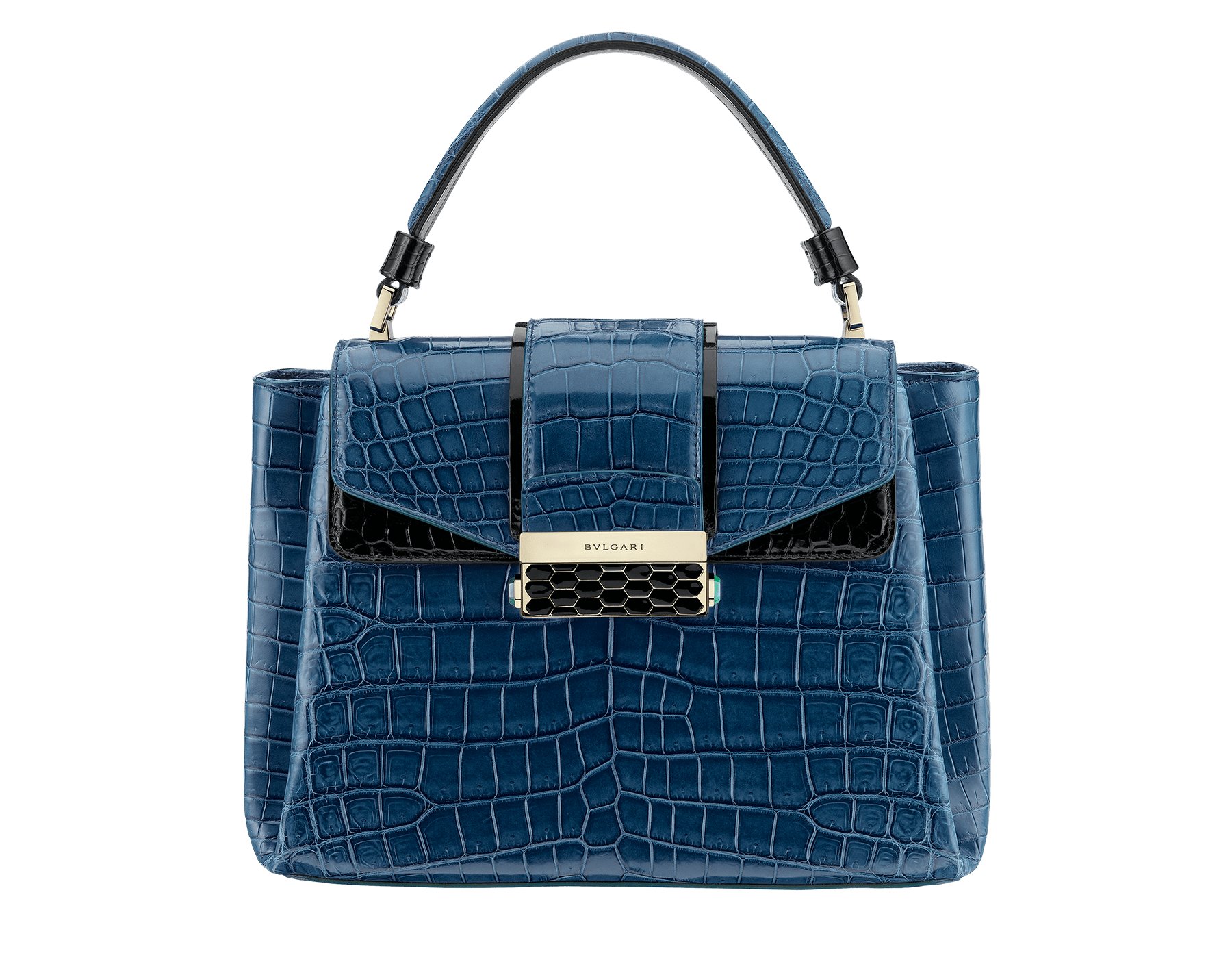 Top handle bag Serpenti Viper in topazio and black shiny crocodile skin. Brass light gold plated hardware and snap closure in black shiny enamel with iconic Scaglie design. 284472 image 1